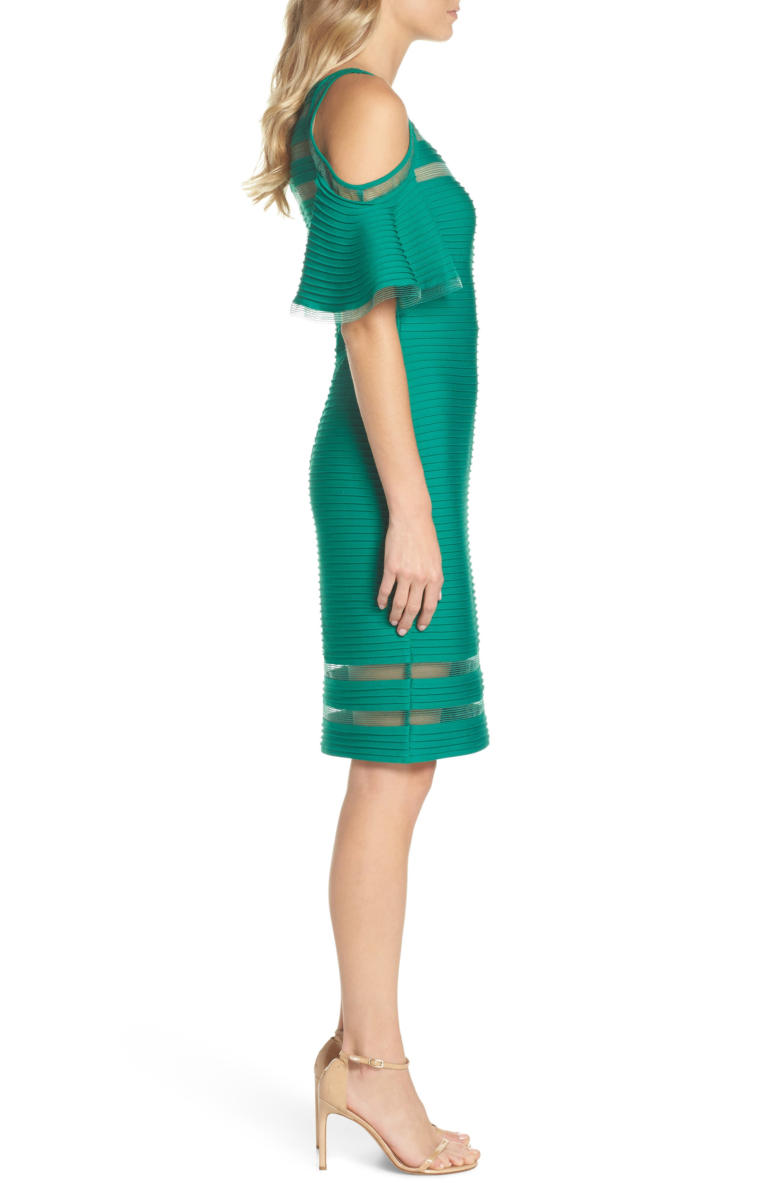 Cold Shoulder Sheath Dress,                             Alternate thumbnail 3, color,