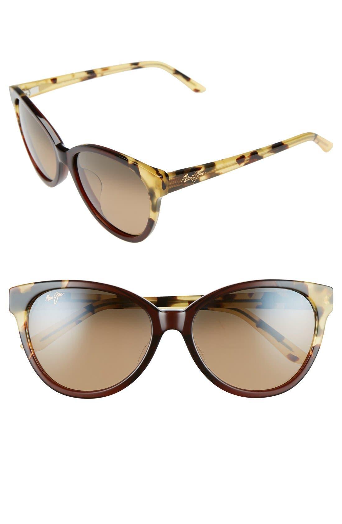 Sunshine 56mm PolarizedPlus2<sup>®</sup> Sunglasses,                             Main thumbnail 1, color,                             MARSALA TOKYO TORTOISE/ BRONZE