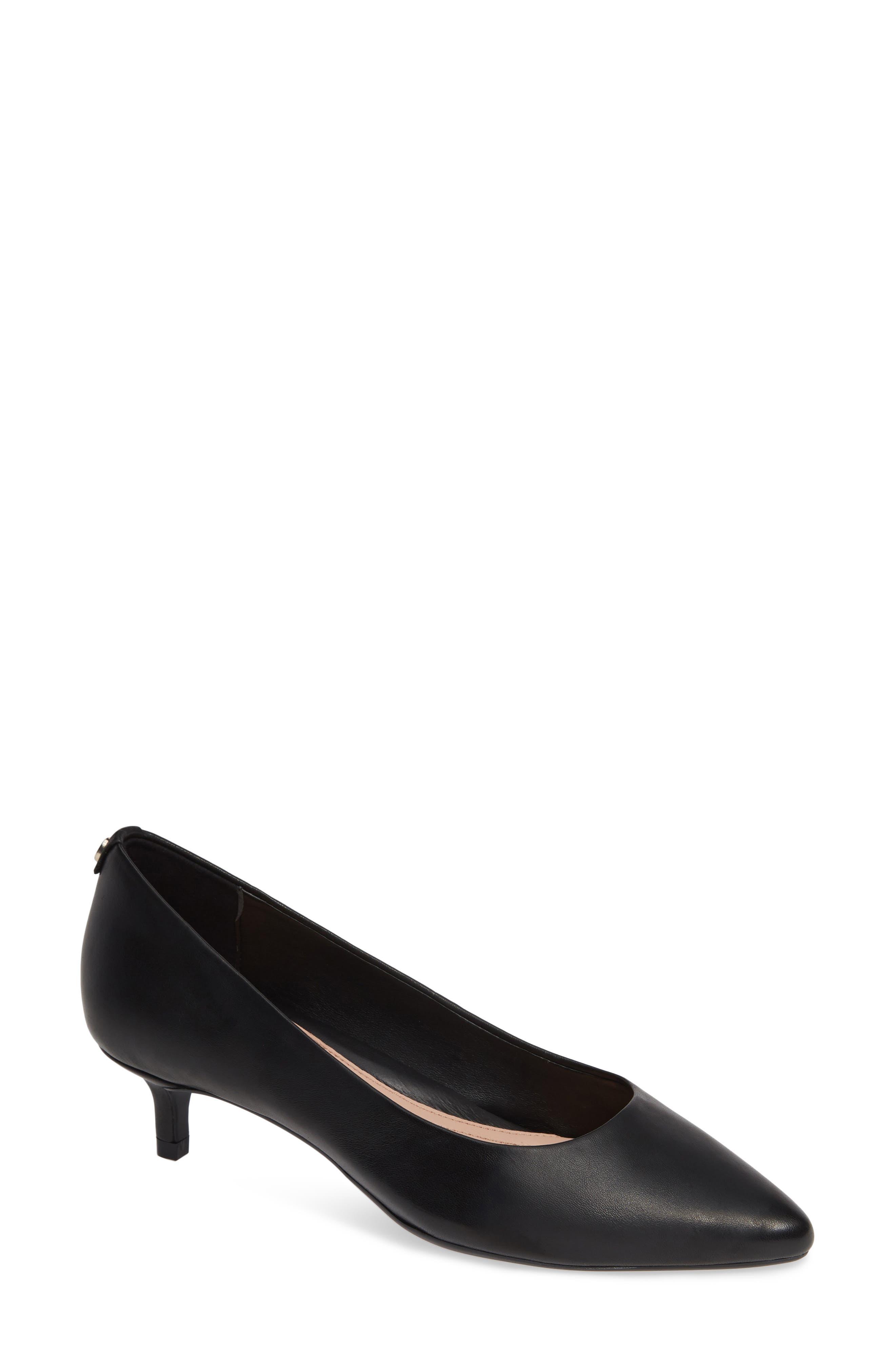 TARYN ROSE Naomi Leather Kitten-Heel Pumps in Black Leather