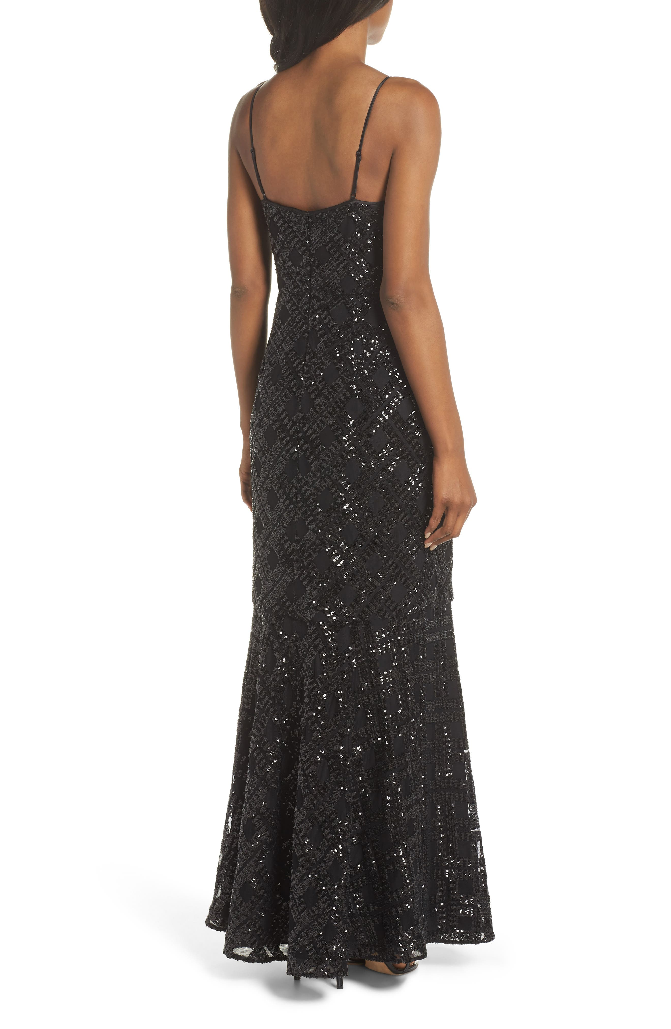 Embellished Fishtail Gown,                             Alternate thumbnail 2, color,                             BLACK