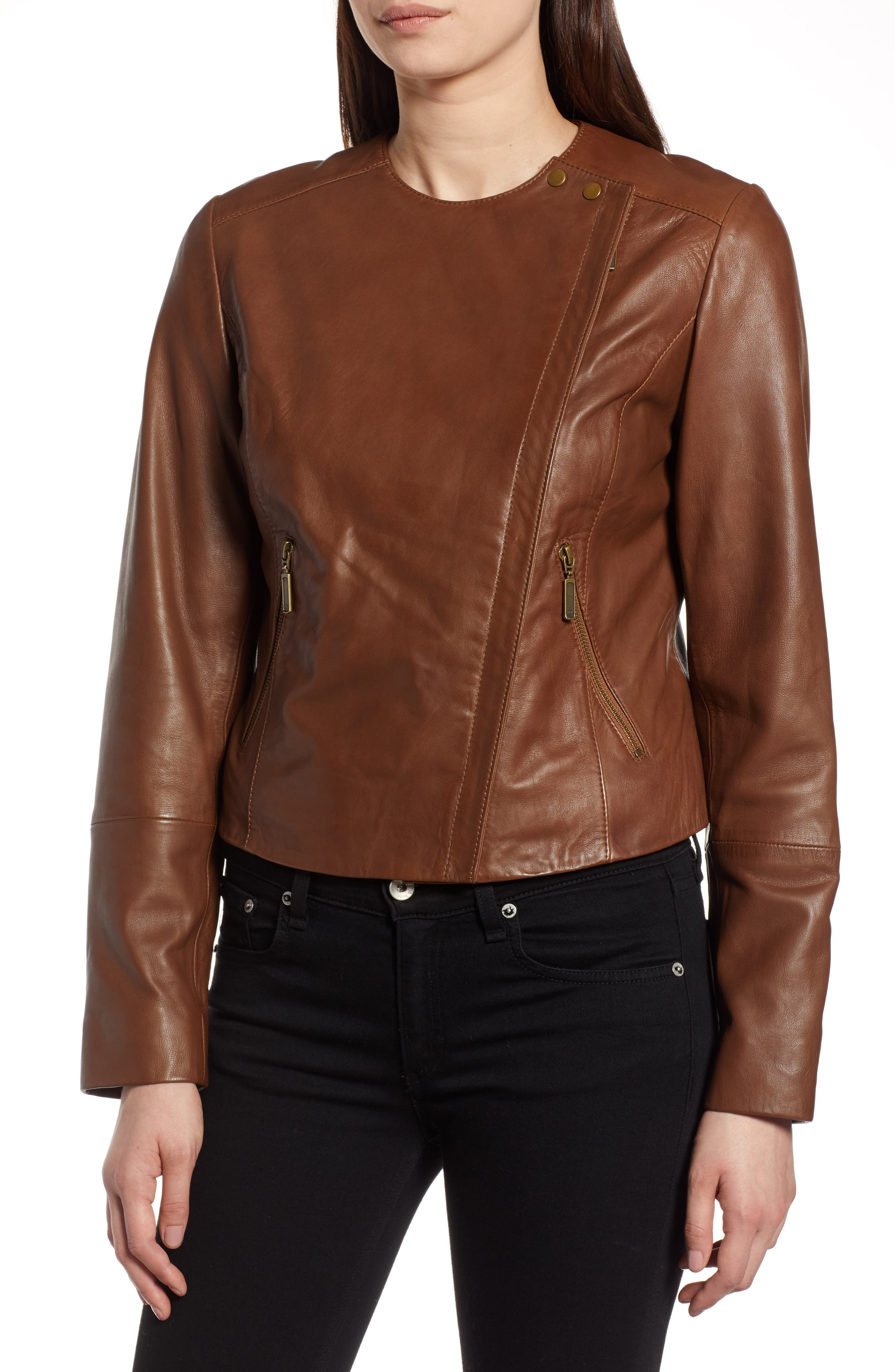 Collarless Leather Jacket,                             Alternate thumbnail 4, color,                             230