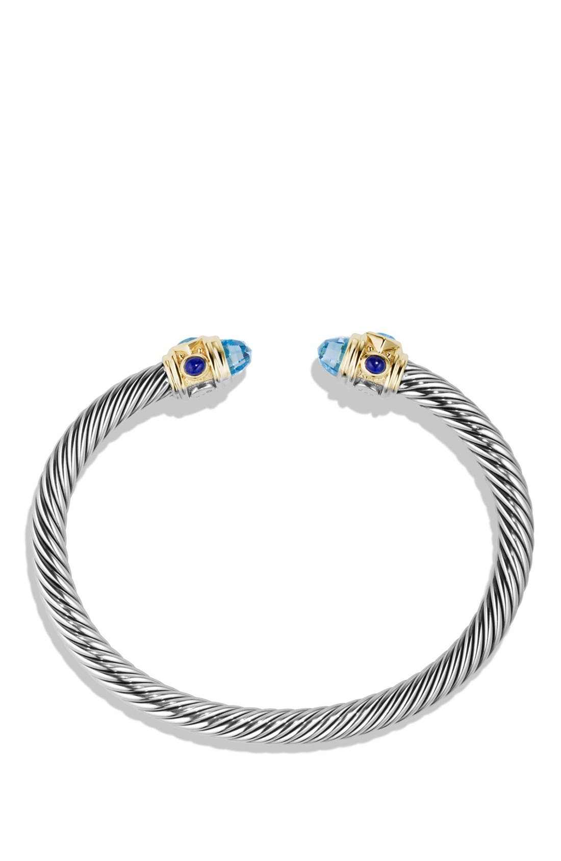 Renaissance Bracelet with Semiprecious Stone & 14k Gold, 5mm,                             Alternate thumbnail 2, color,                             BLUE TOPAZ