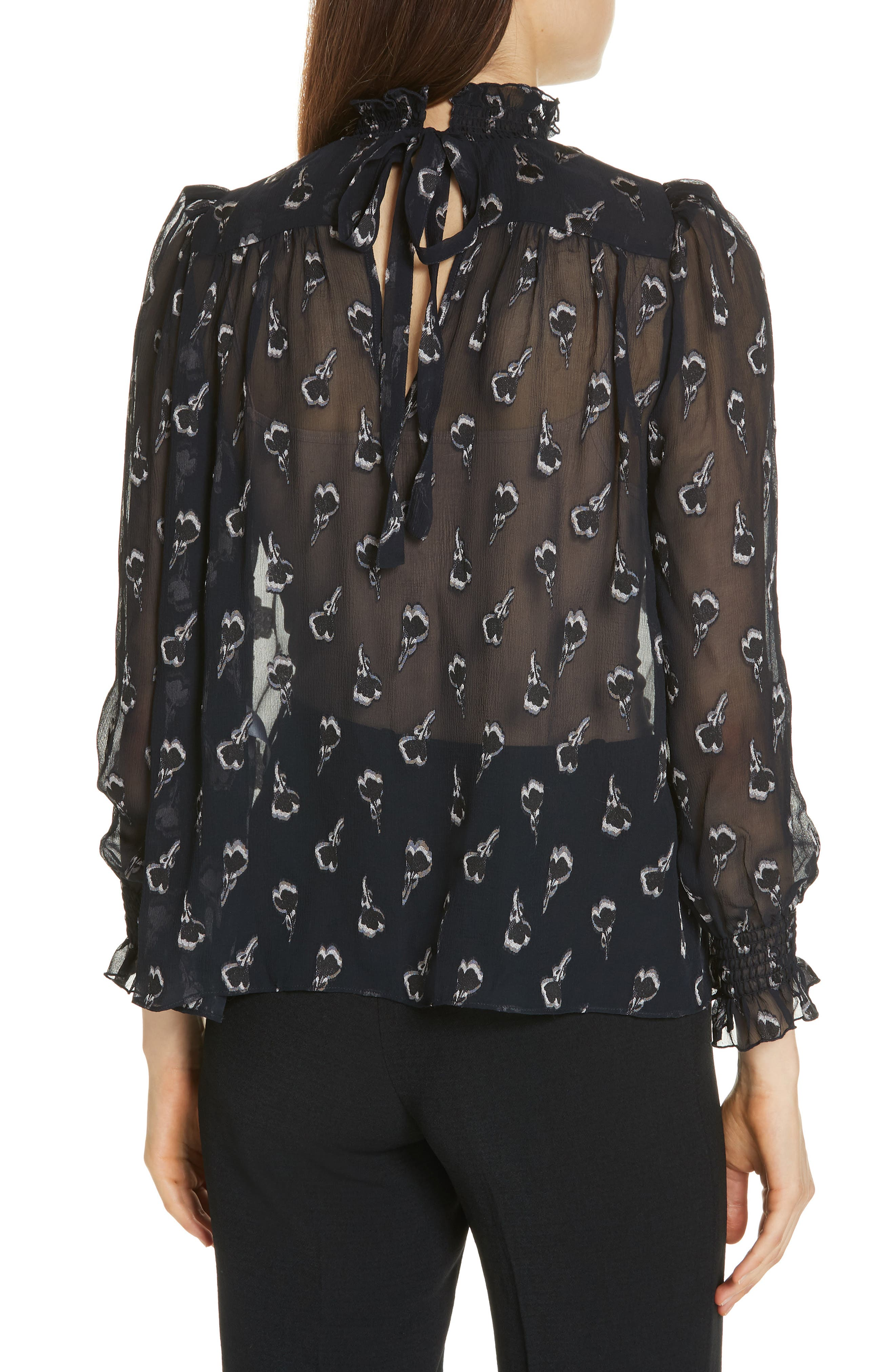 BA&SH,                             Malawi Tumbling Blossoms Silk Georgette Blouse,                             Alternate thumbnail 2, color,                             NOIR