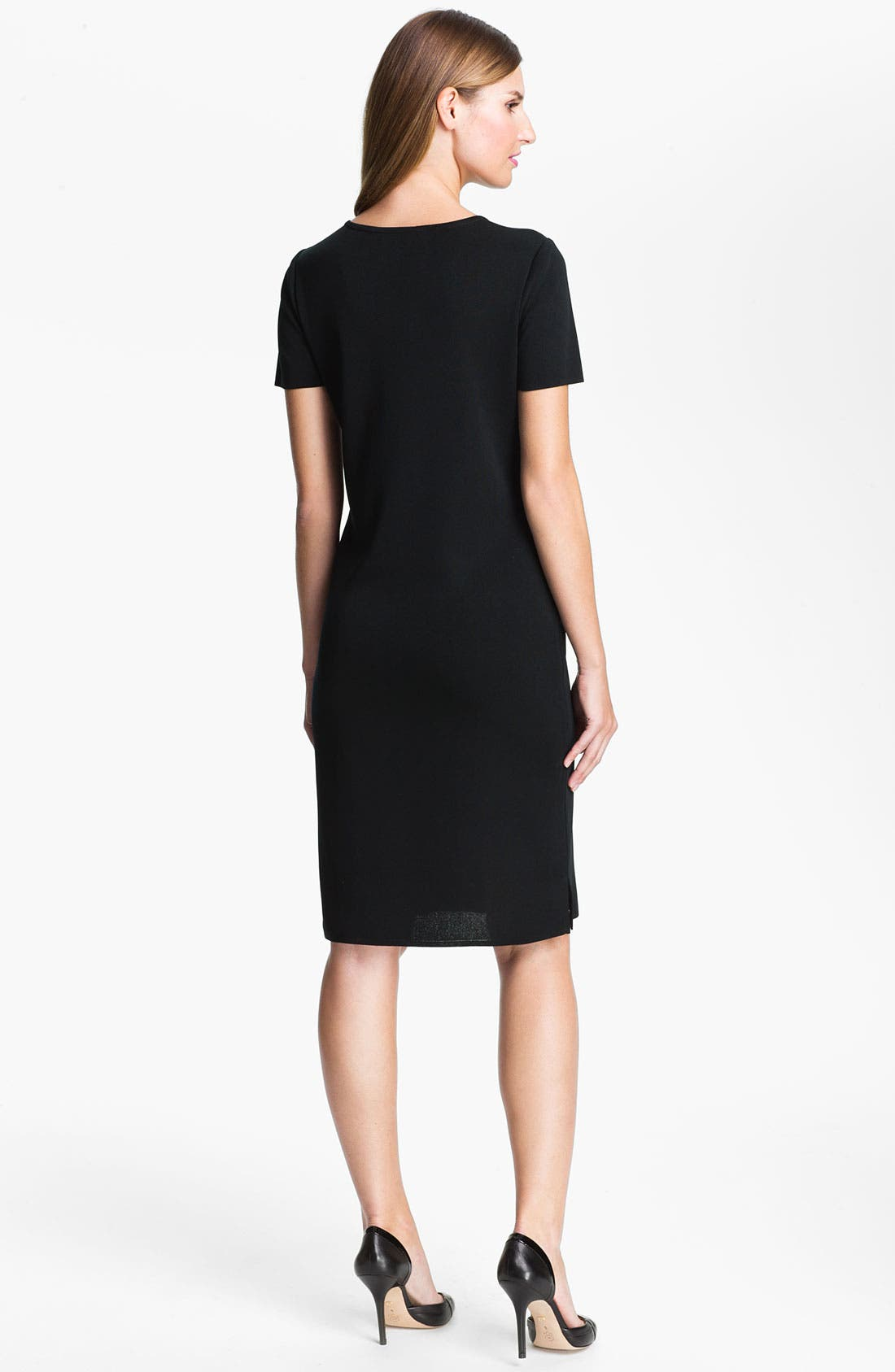 Short Sleeve Dress,                             Alternate thumbnail 8, color,                             BLACK