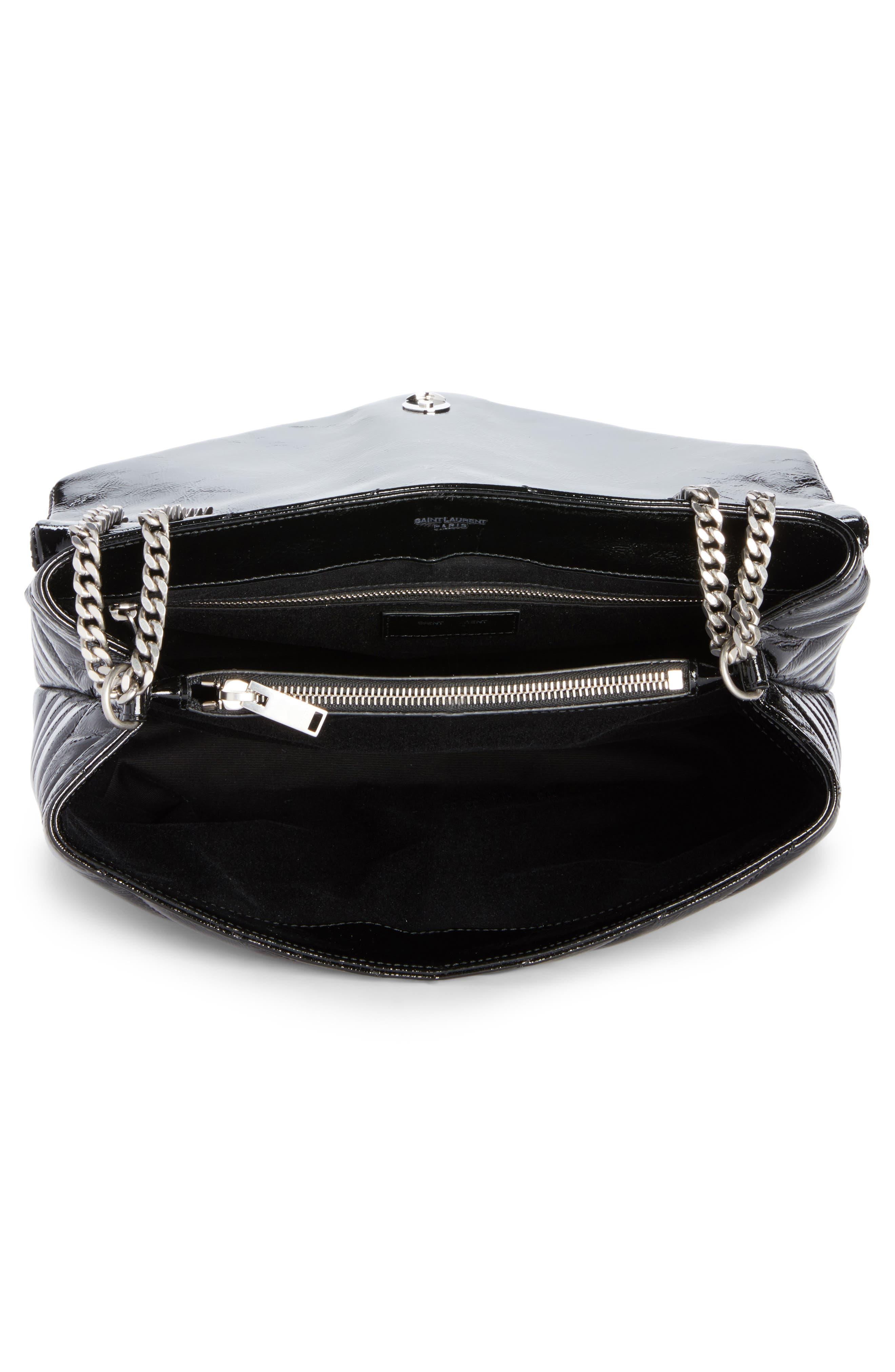 Medium Loulou Patent Leather Shoulder Bag,                             Alternate thumbnail 4, color,                             001