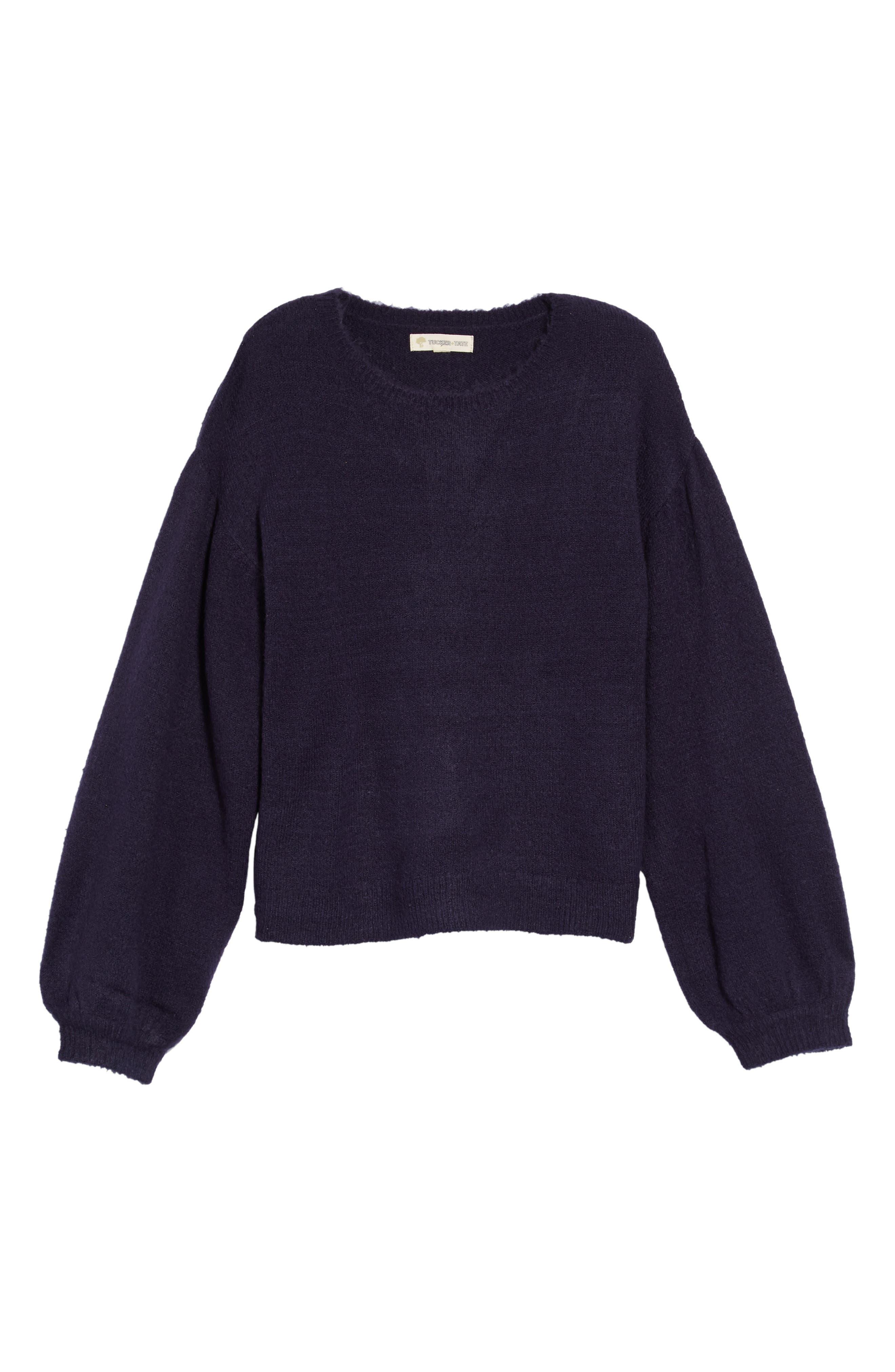 Bubble Sleeve Sweater,                         Main,                         color, NAVY PEACOAT