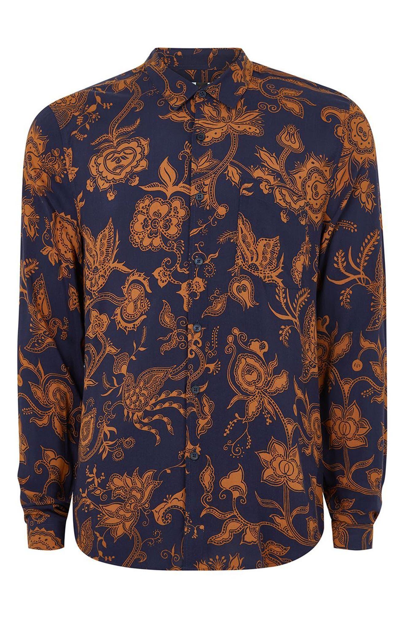 Classic Fit Floral Print Shirt,                             Alternate thumbnail 4, color,
