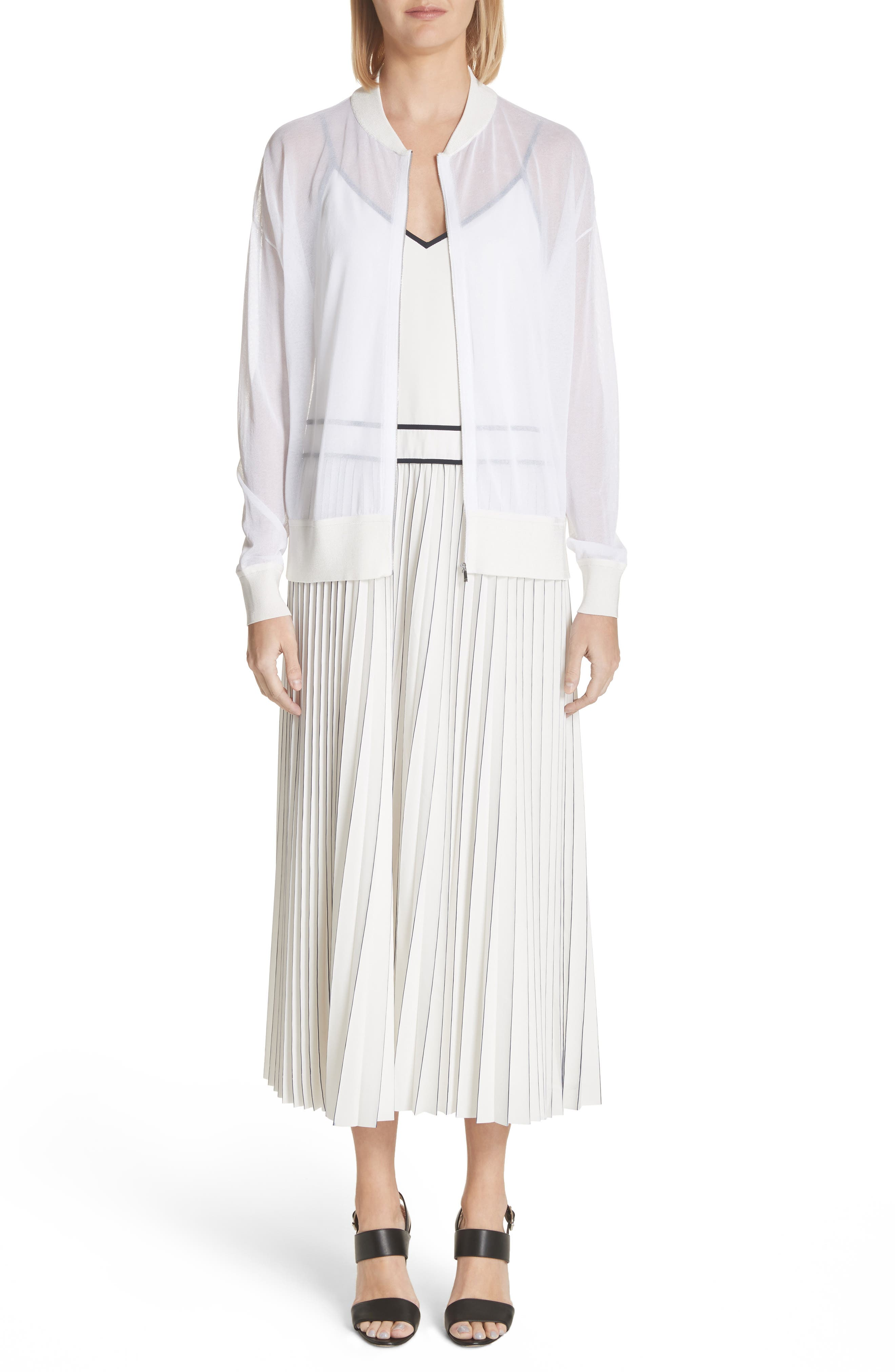 Silk Pleated Skirt Midi Dress,                             Alternate thumbnail 7, color,                             129