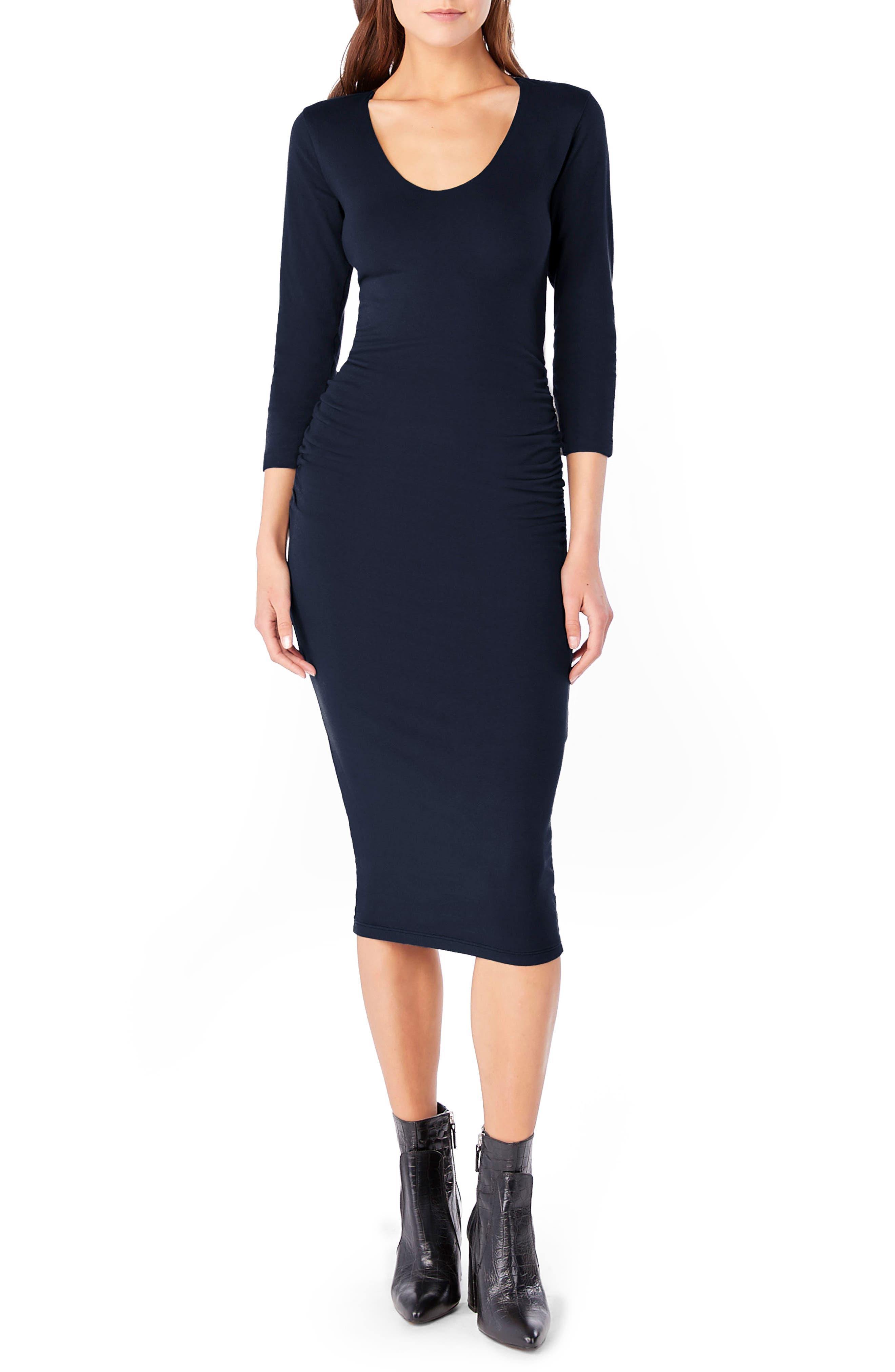women's michael stars ruched midi dress, size large - blue