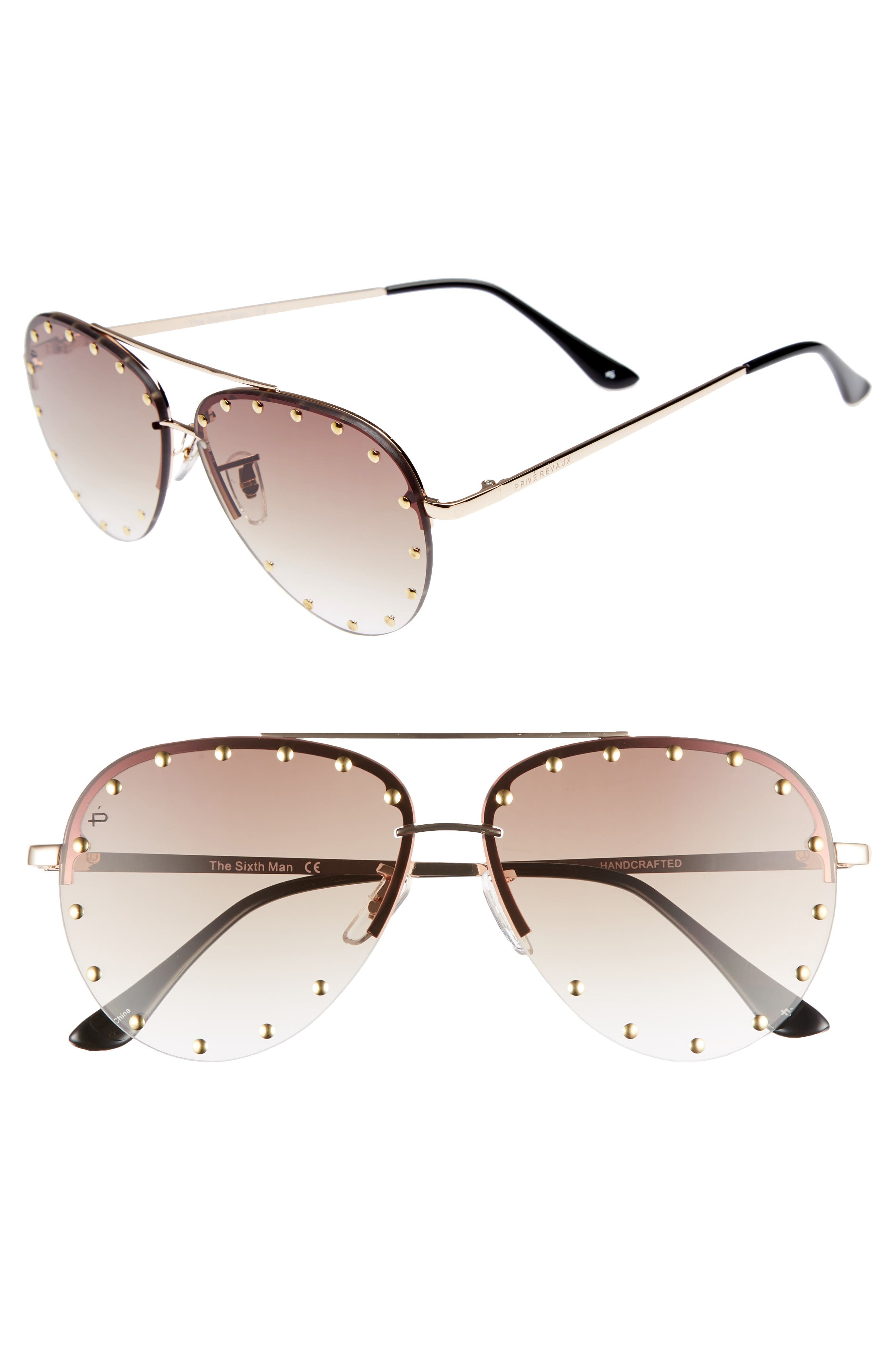 Privé Revaux The Sixth Man 60mm Studded Aviator Sunglasses,                             Main thumbnail 2, color,