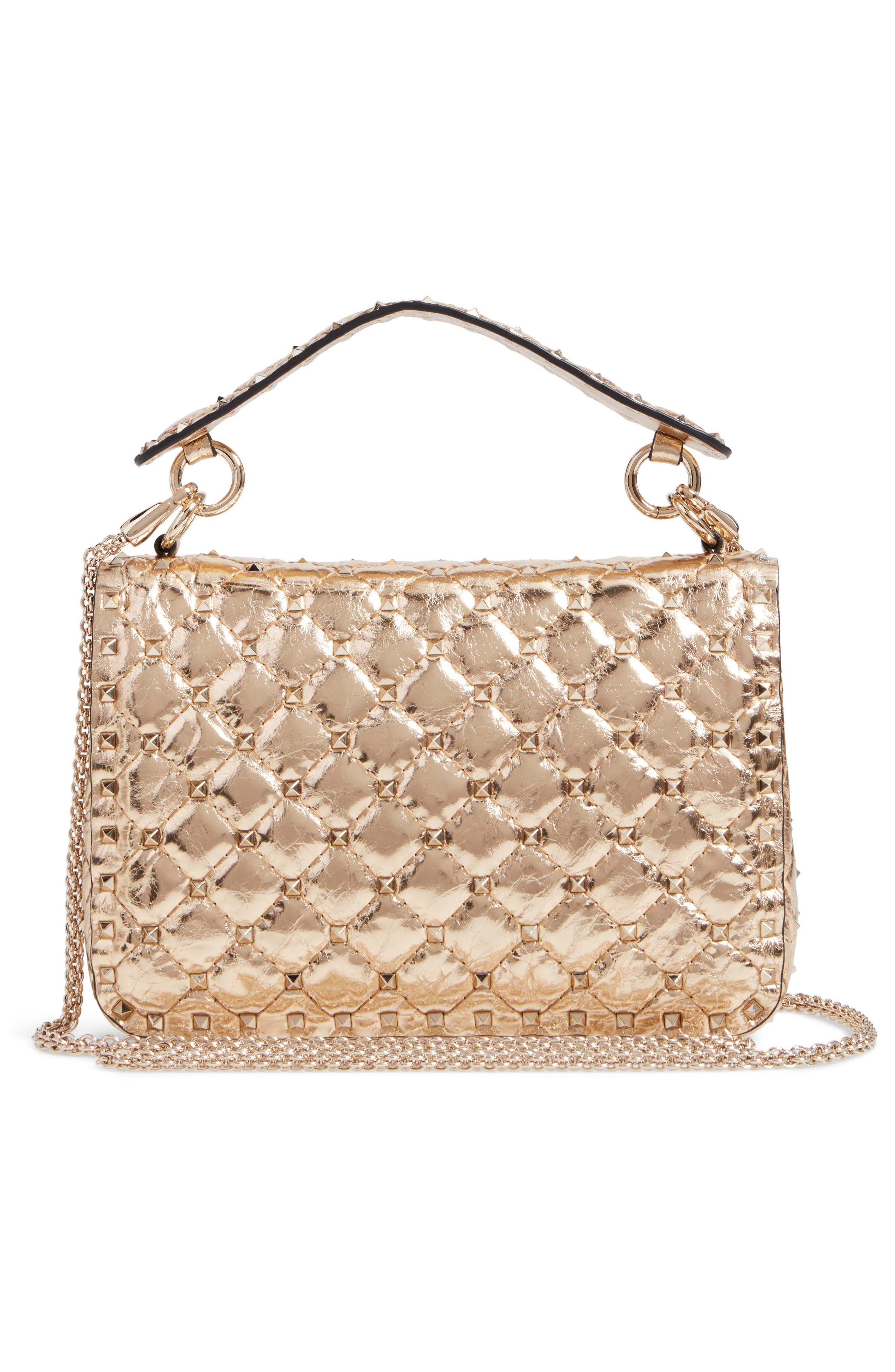 Matelassé Rockstud Spike Leather Top Handle Bag,                             Alternate thumbnail 3, color,                             MEKONG
