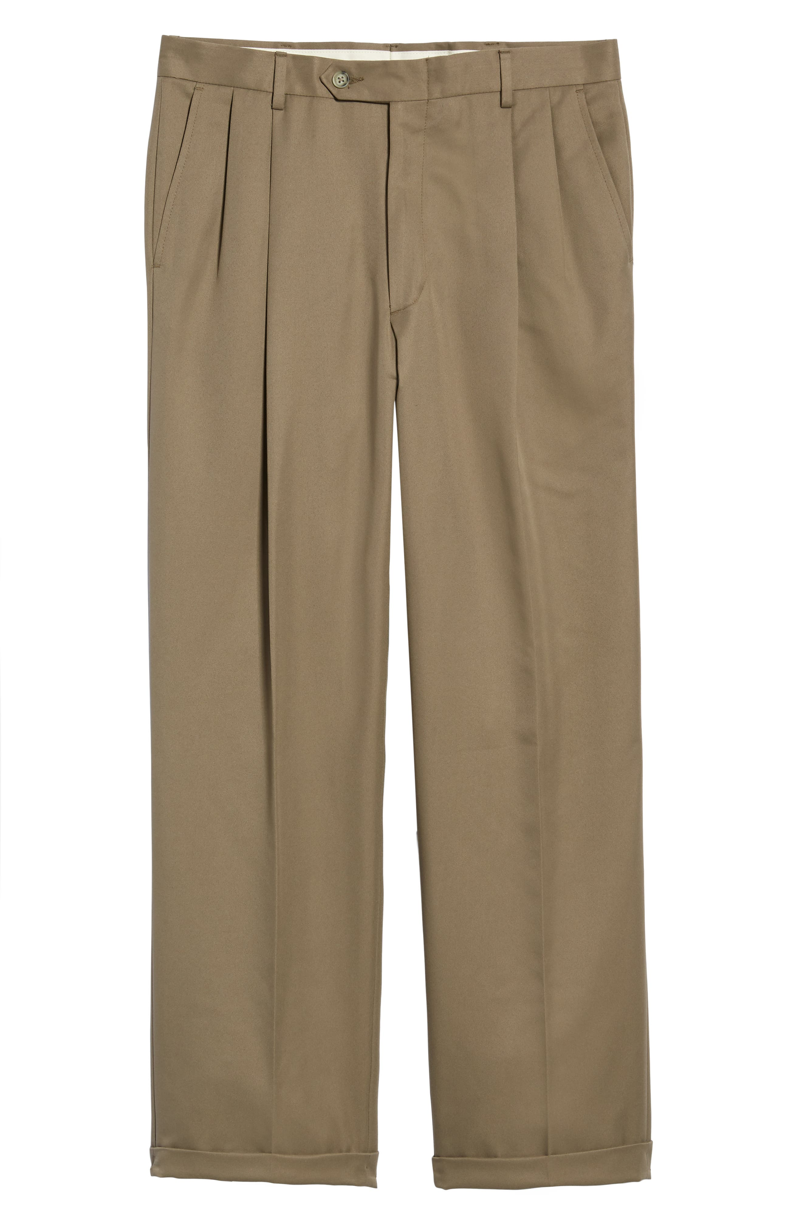 Classic Fit Pleated Microfiber Performance Trousers,                             Alternate thumbnail 6, color,                             GREEN