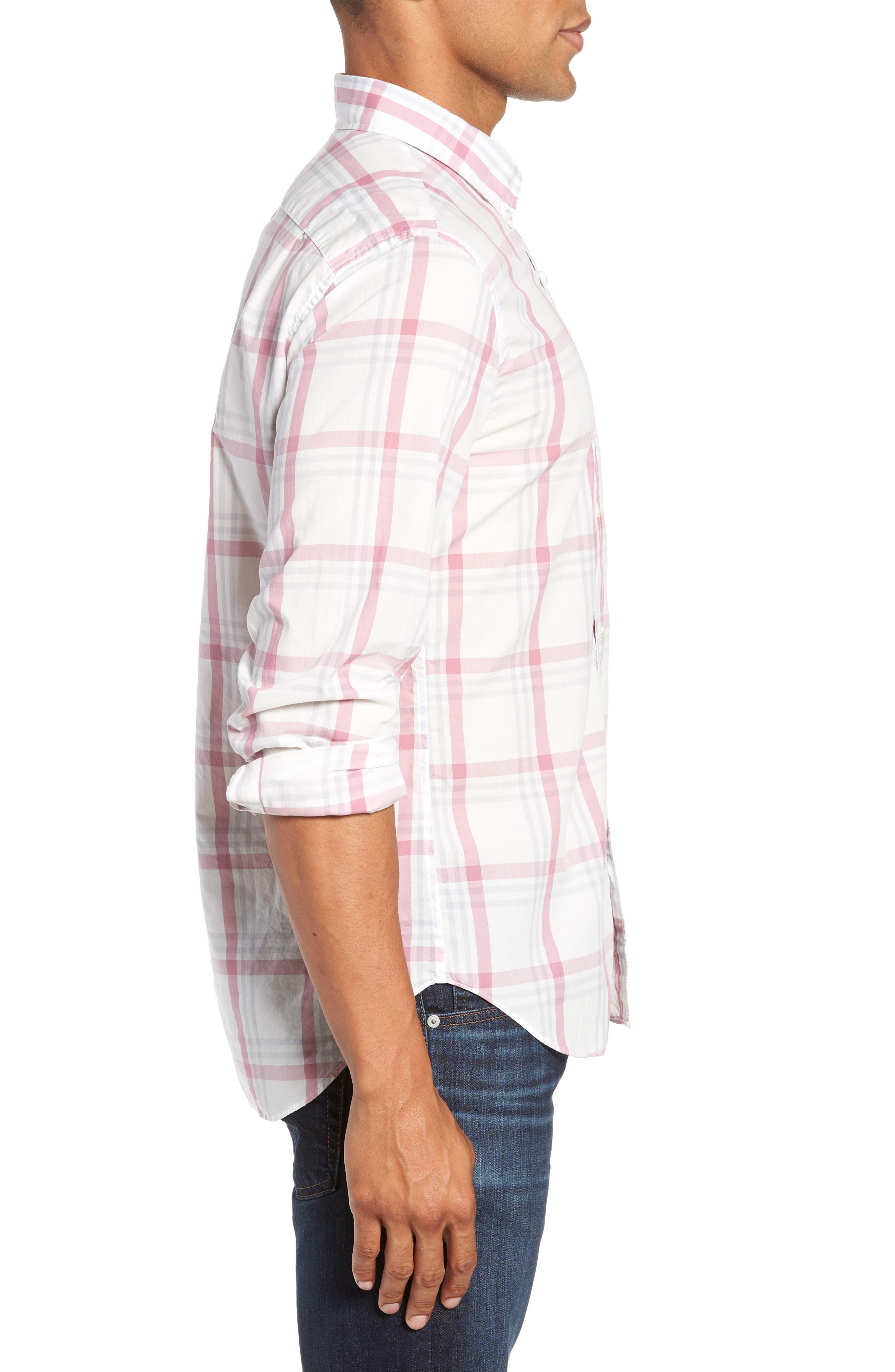 BONOBOS,                             Summerweight Slim Fit Plaid Sport Shirt,                             Alternate thumbnail 4, color,                             100