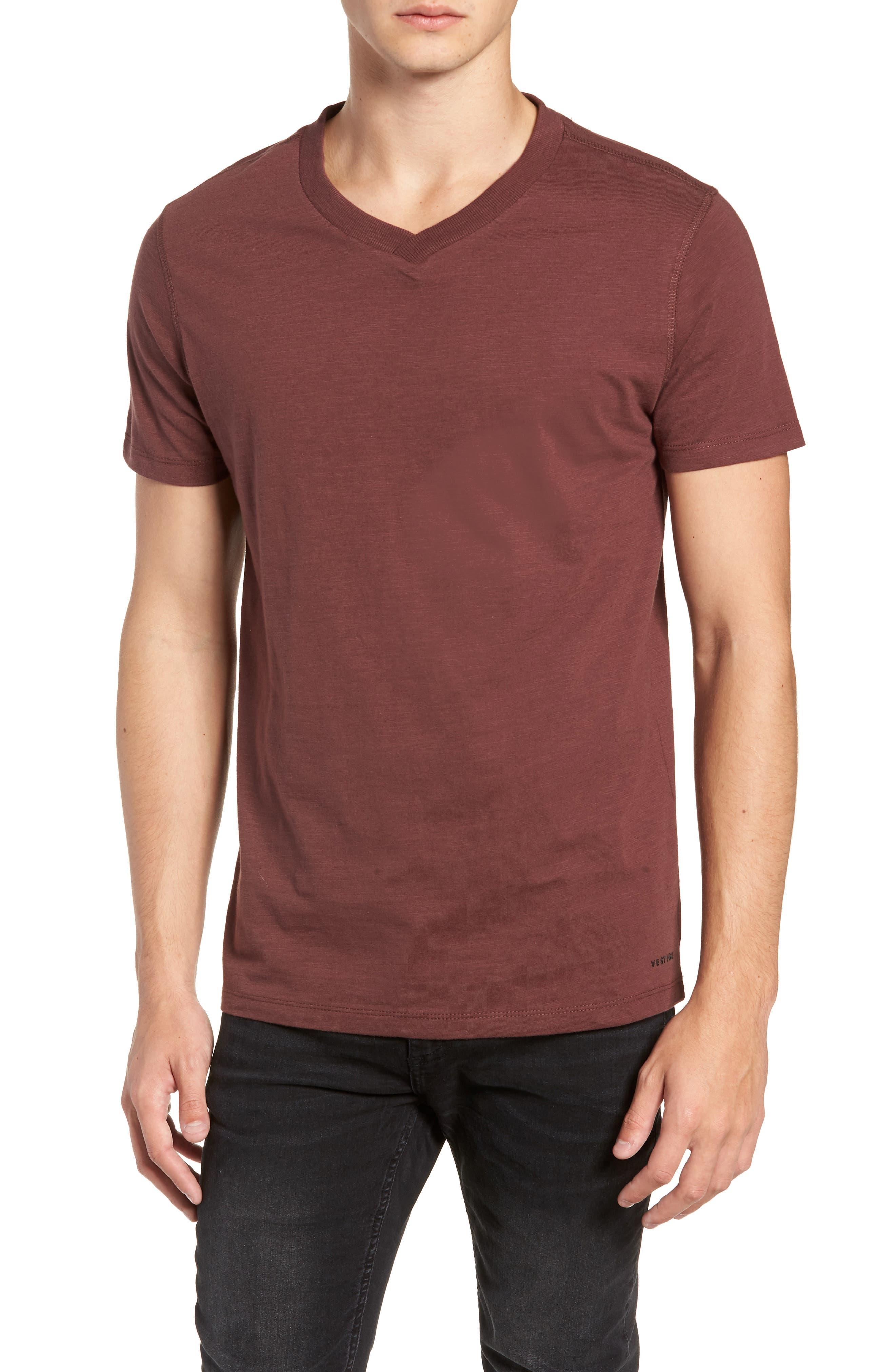 Soccer V-Neck T-Shirt,                         Main,                         color, BURGUNDY