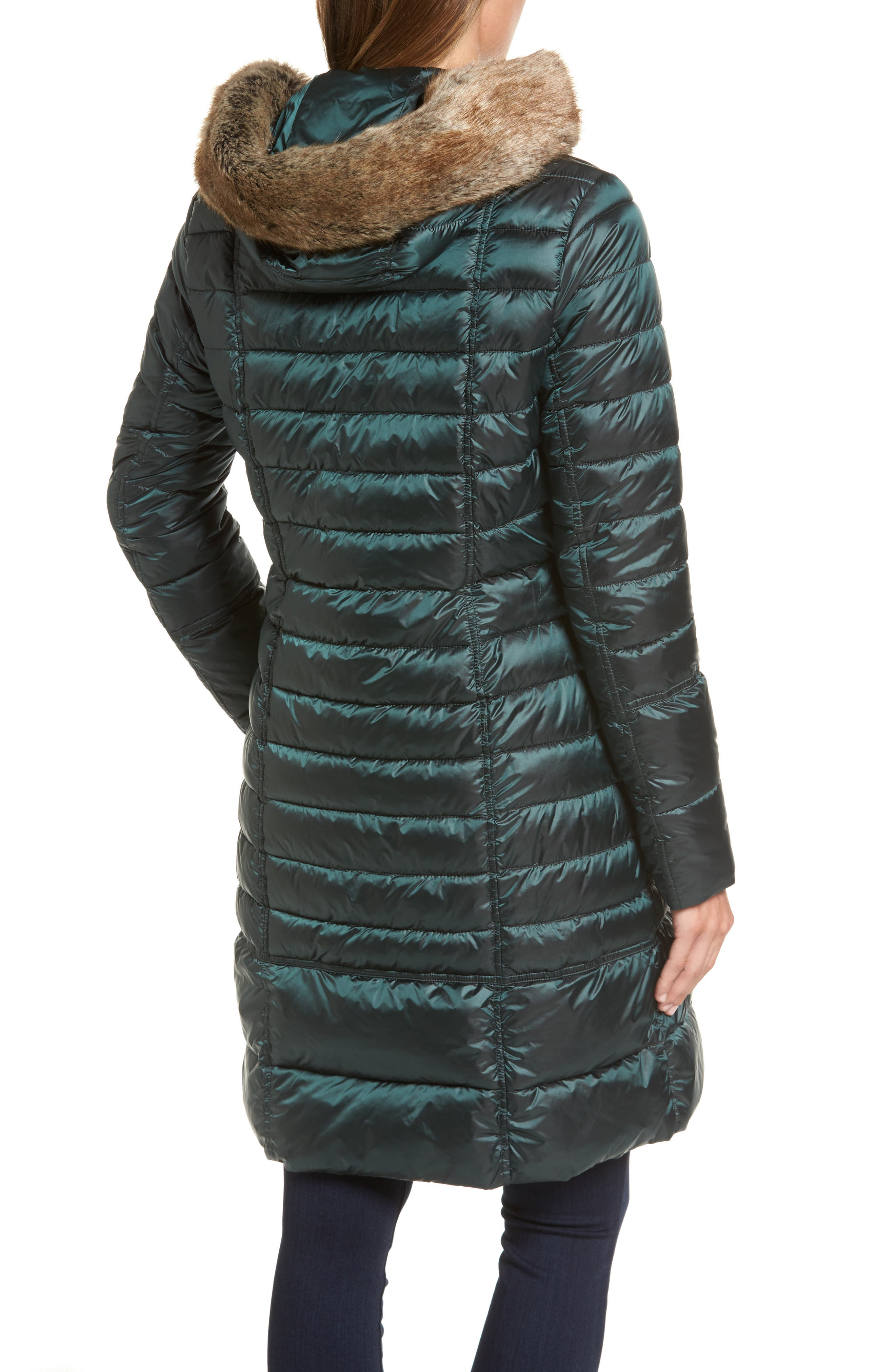 Fortrose Hooded Quilted Coat with Faux Fur Trim,                             Alternate thumbnail 4, color,