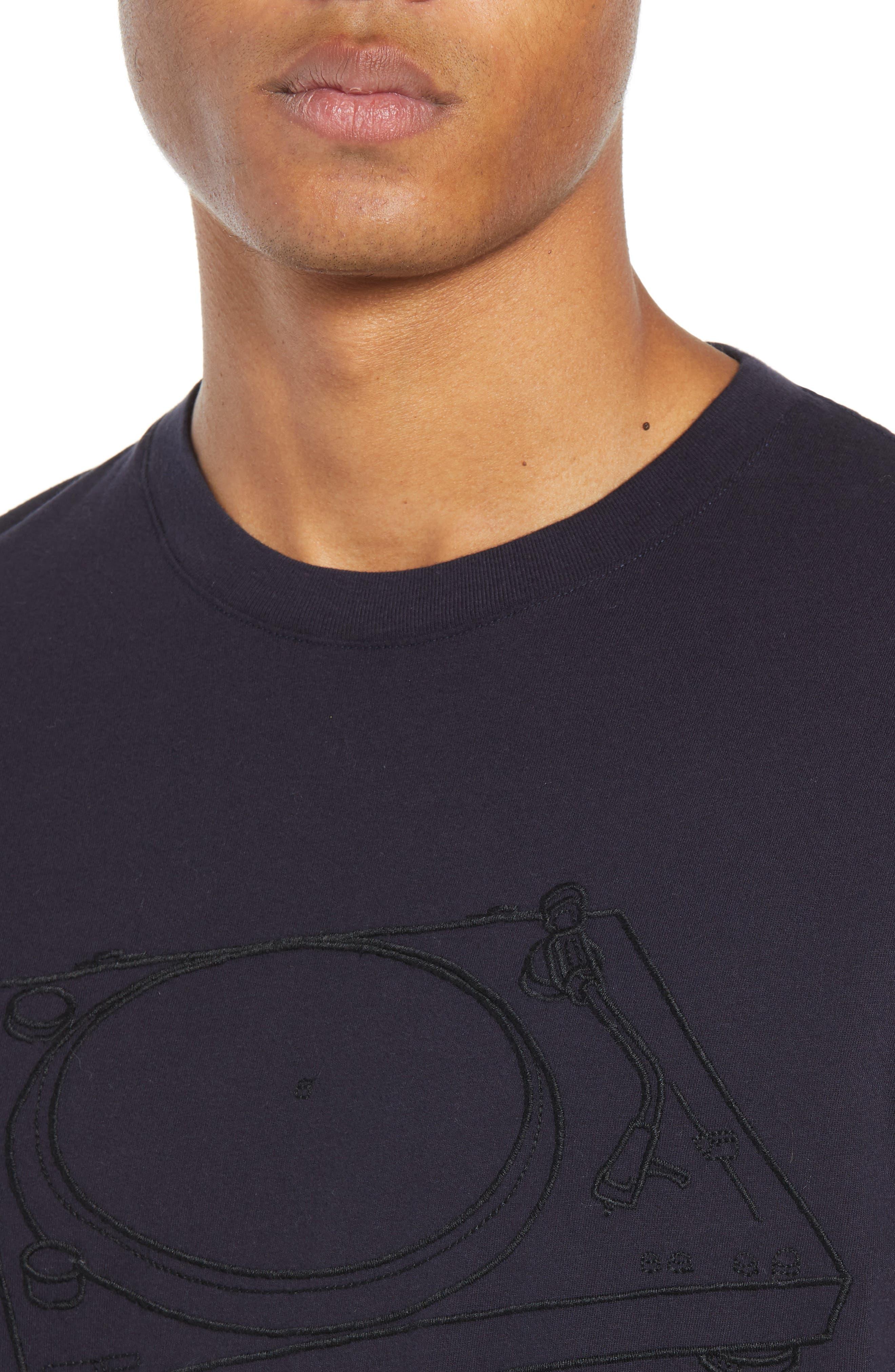 Decks Regular Fit Cotton T-Shirt,                             Alternate thumbnail 4, color,                             UTILITY BLUE BLACK