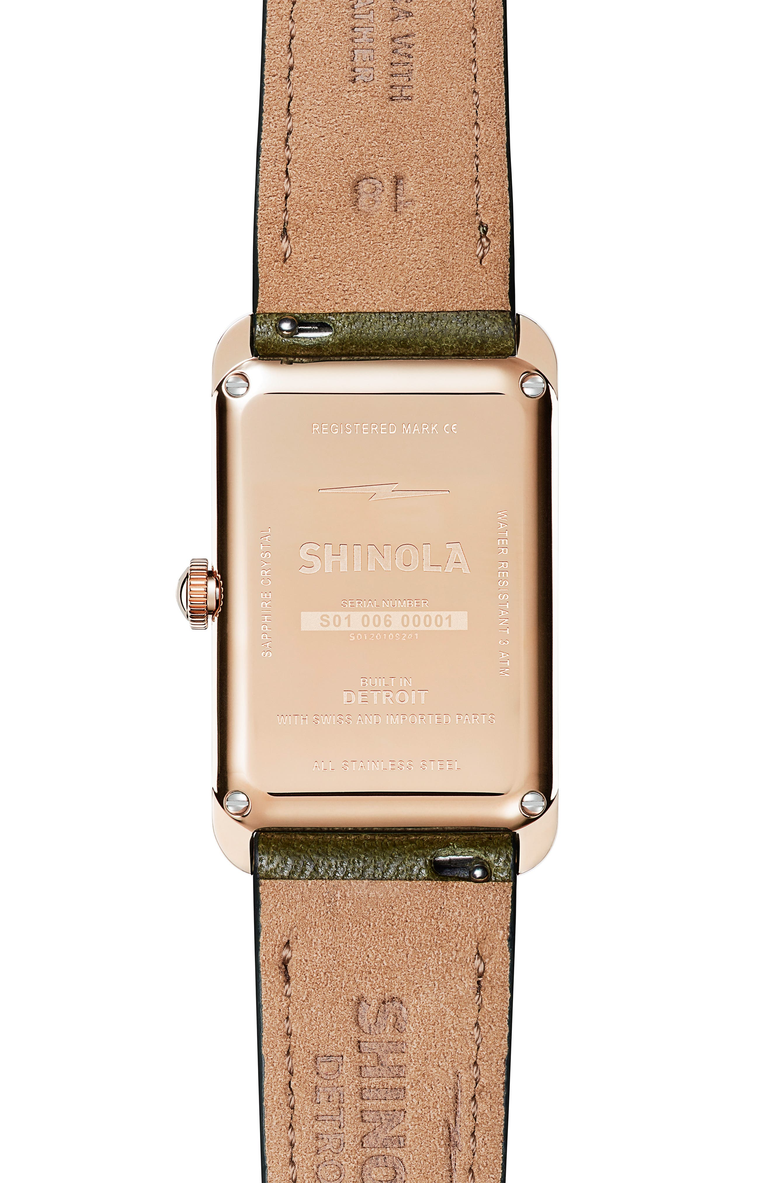 The Muldowney Rectangular Leather Strap Watch, 24mm x 32mm,                             Alternate thumbnail 9, color,
