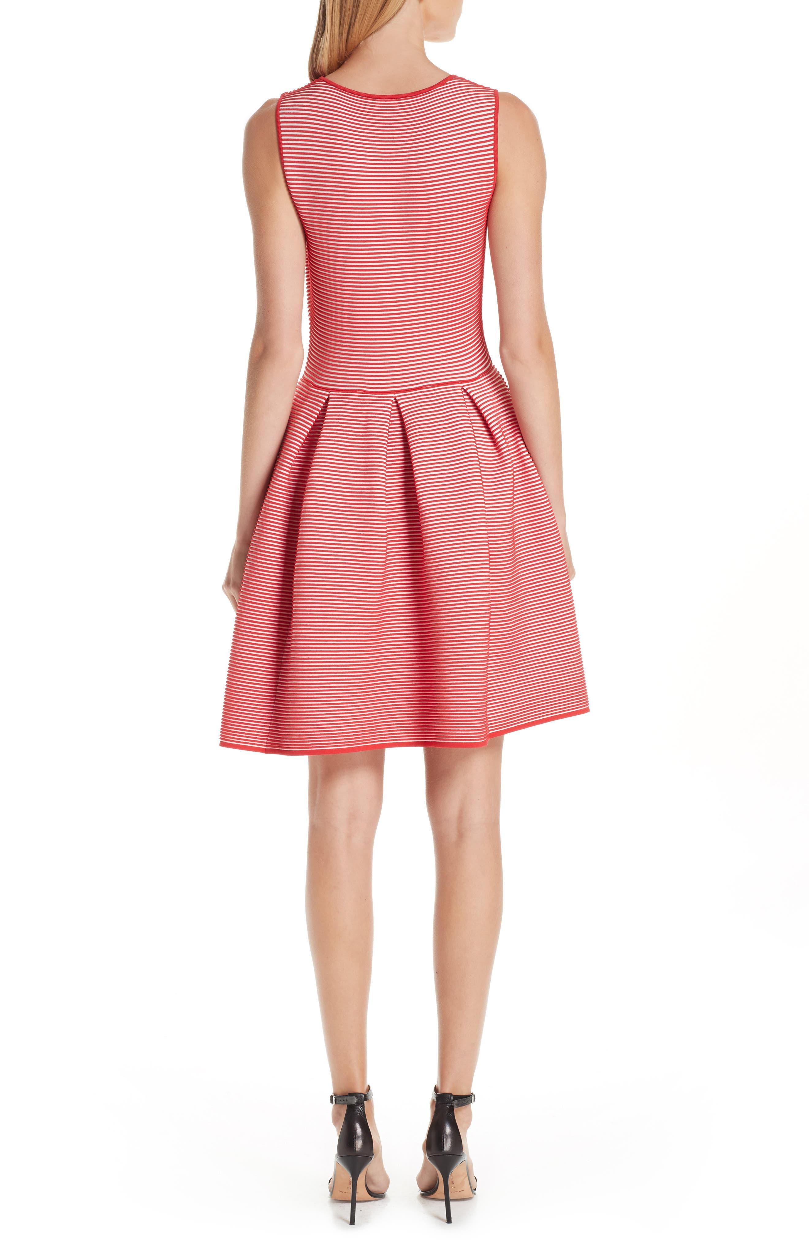 Stripe Knit Jersey Dress,                             Alternate thumbnail 2, color,                             ROSSO VULCANO