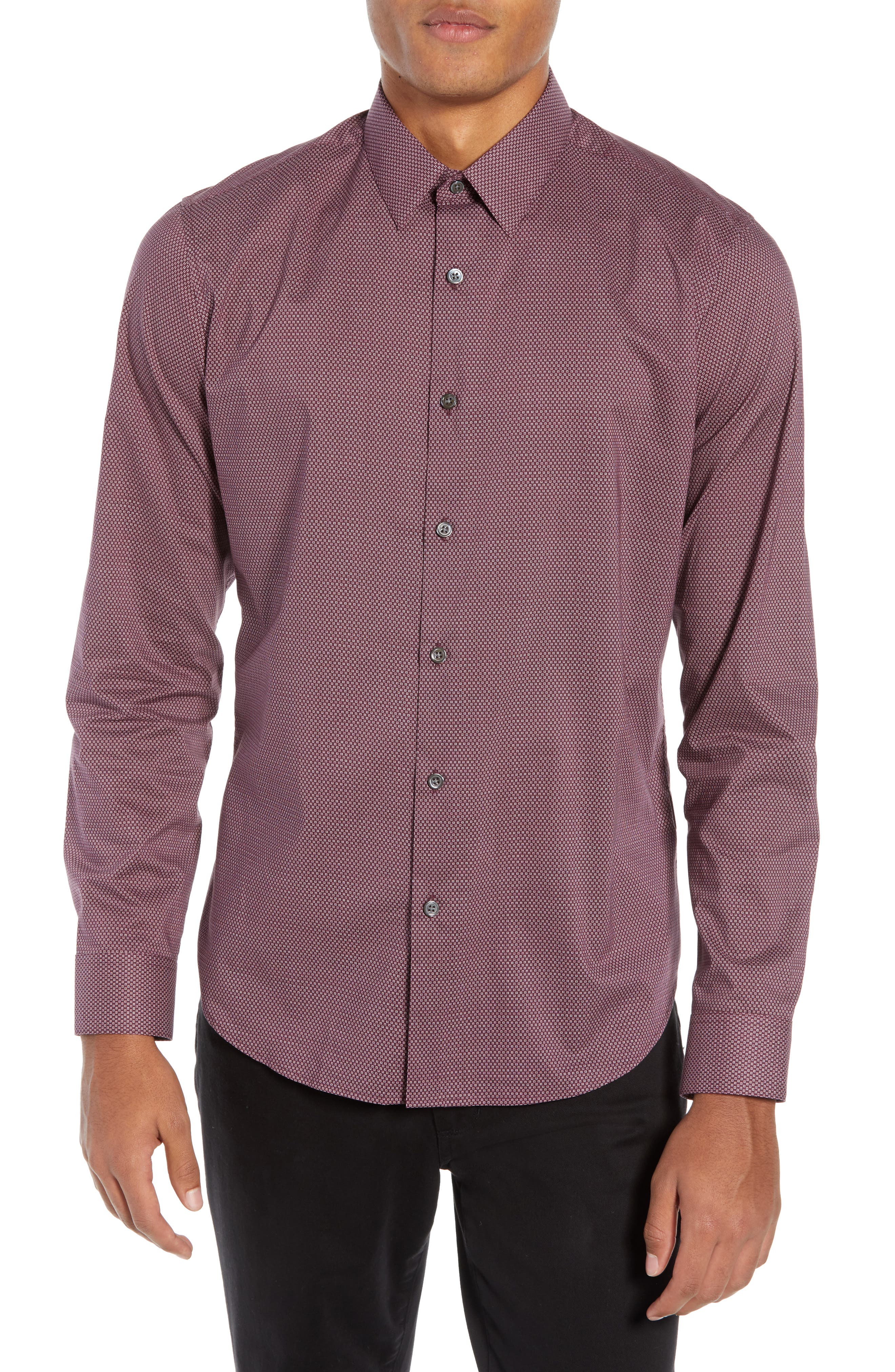 Sylvain Regular Fit Cinder Print Sport Shirt,                         Main,                         color, MALBEC MULTI