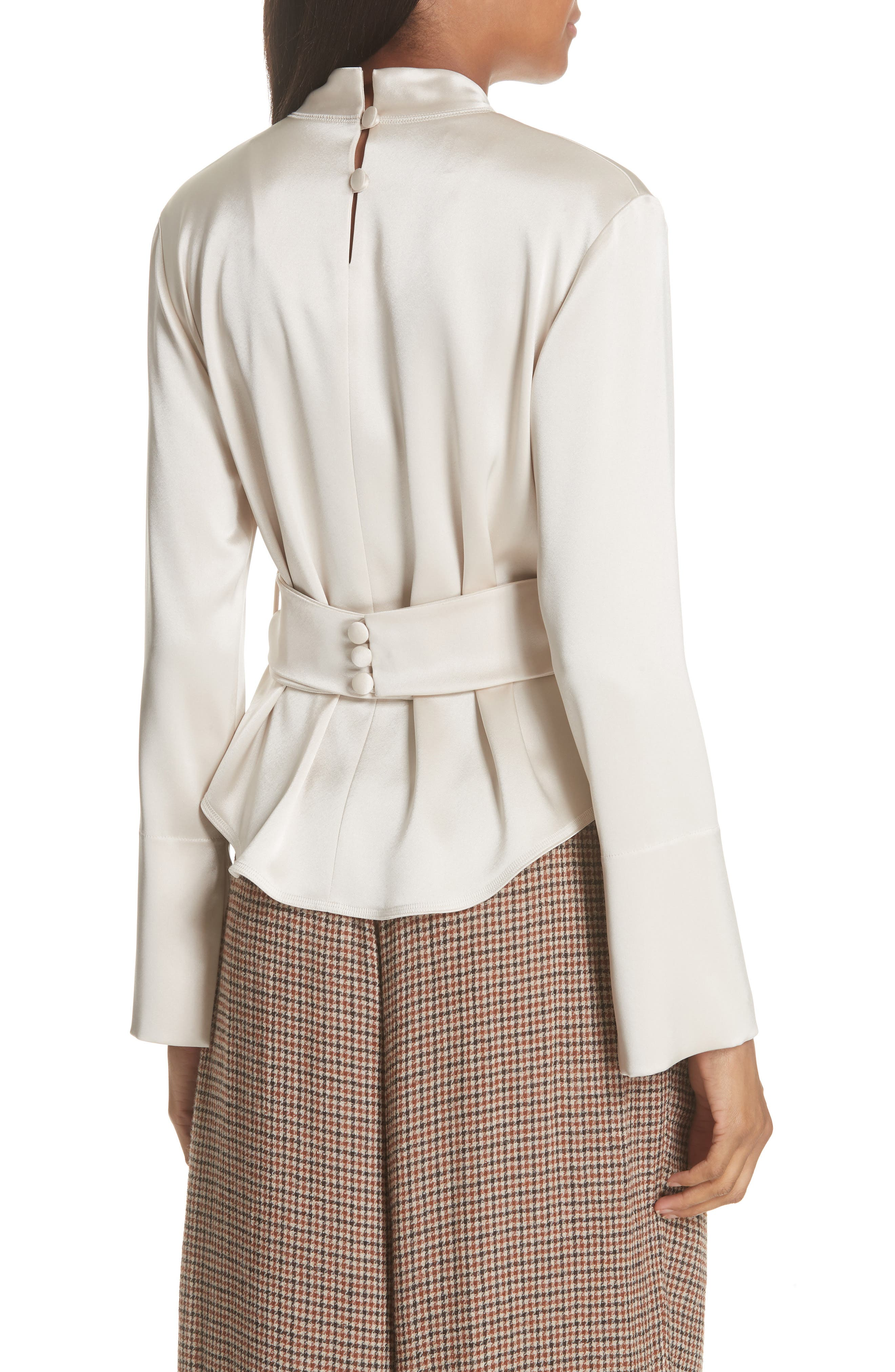 Almond Belted Satin Blouse,                             Alternate thumbnail 2, color,                             271