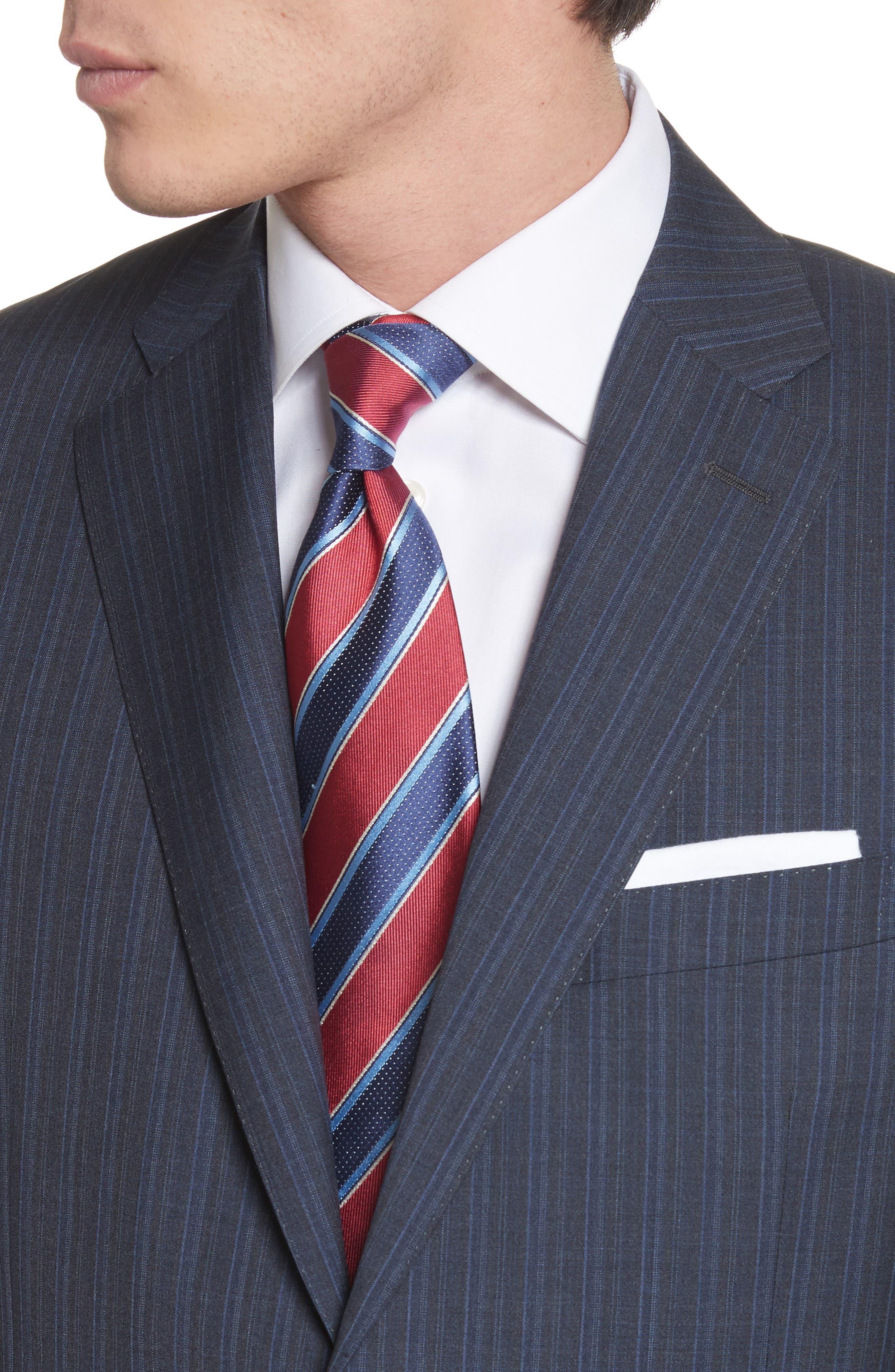 Classic Fit Stripe Wool Suit,                             Alternate thumbnail 4, color,