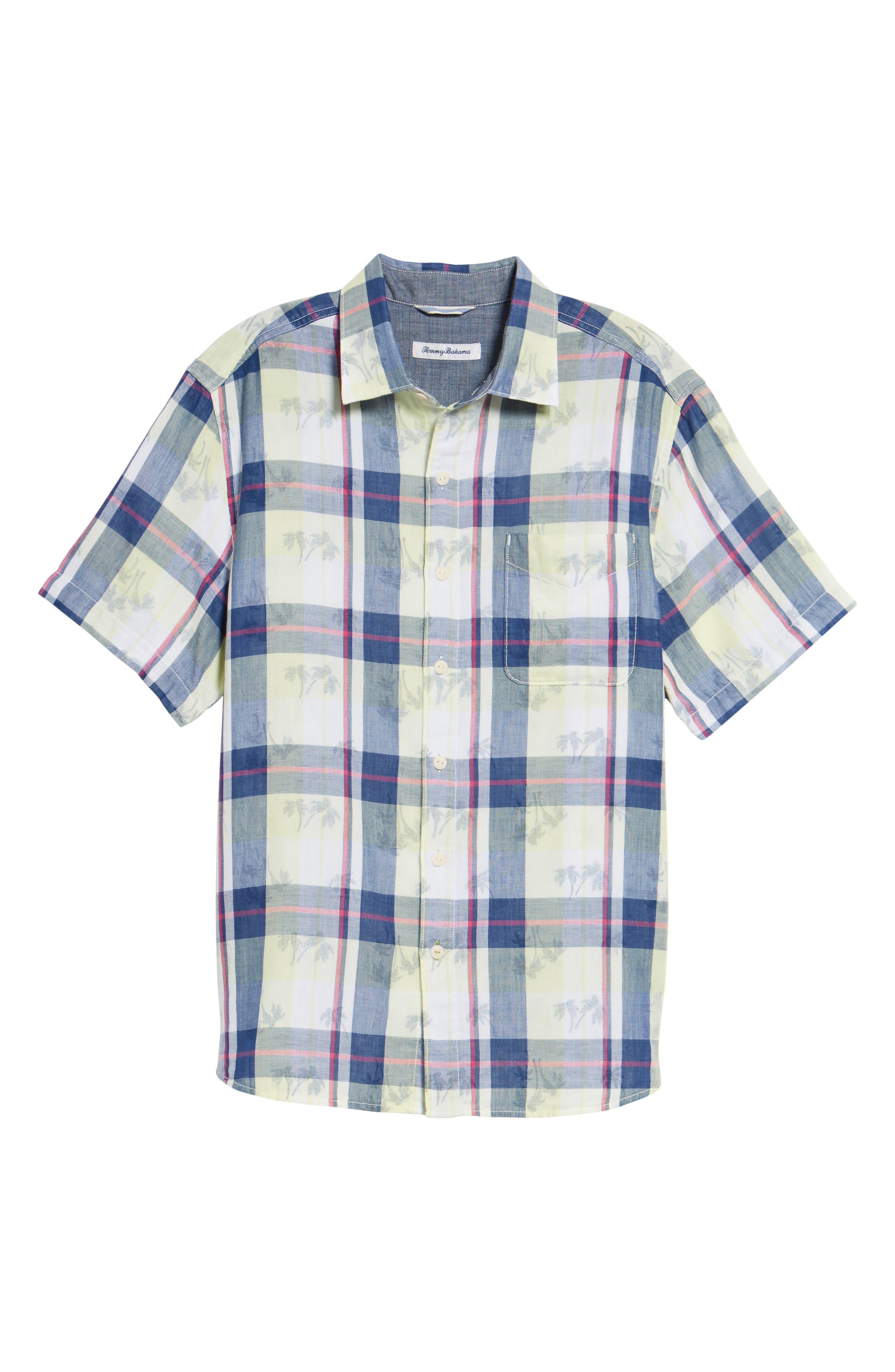Double Flora Plaid Cotton Camp Shirt,                             Alternate thumbnail 6, color,                             400