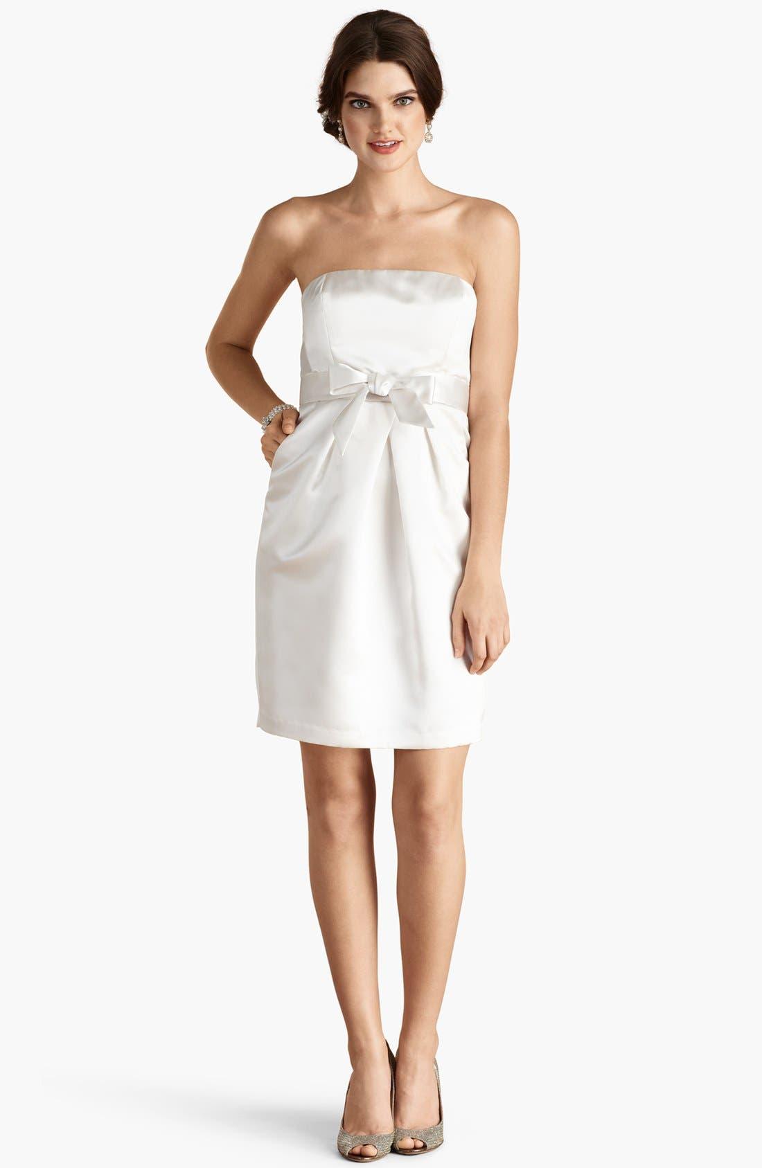 'Savannah' Strapless Satin Sheath Dress,                             Alternate thumbnail 2, color,