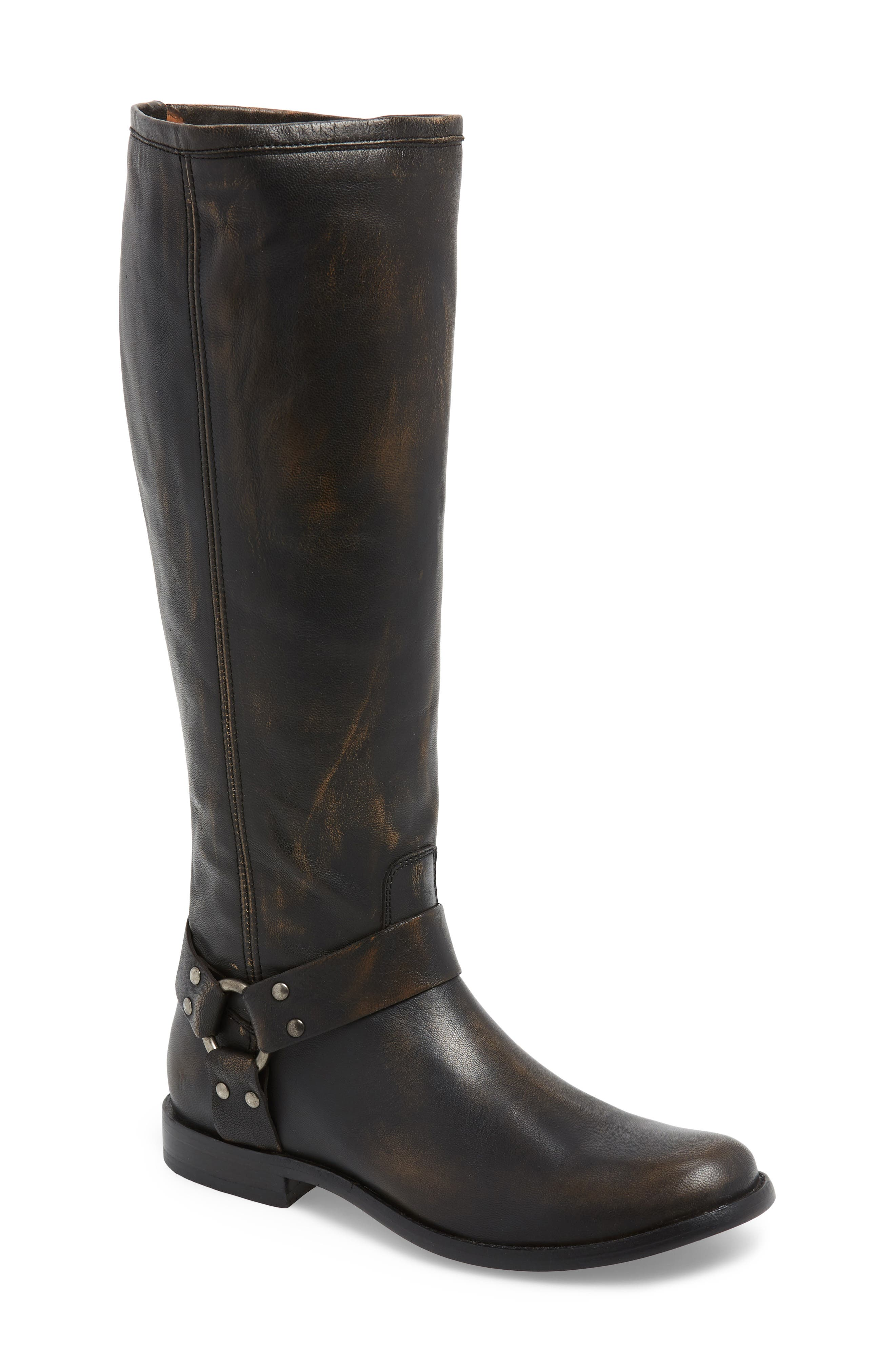 Phillip Harness Tall Boot,                             Main thumbnail 1, color,                             DARK BROWN LEATHER