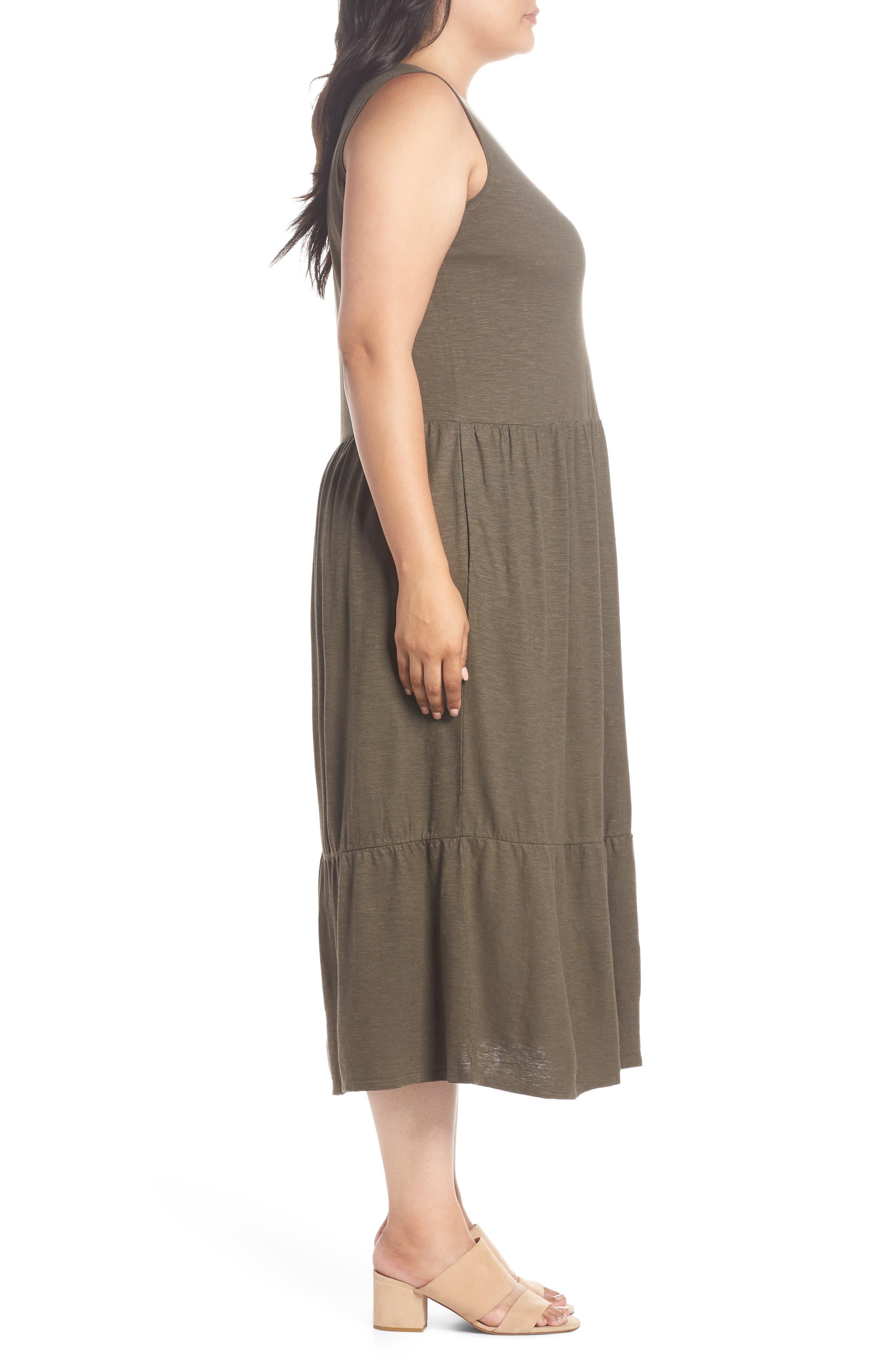 Scooped Neck Hemp & Cotton Midi Dress,                             Alternate thumbnail 3, color,                             359