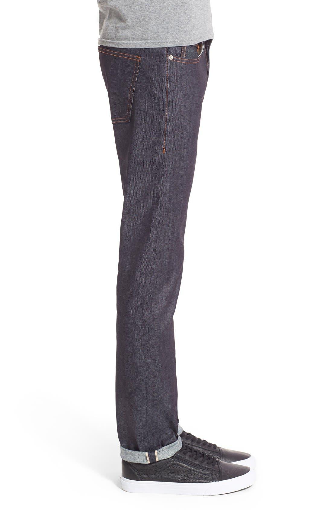 'Super Skinny Guy' Skinny Fit Selvedge Jeans,                             Alternate thumbnail 3, color,                             11OZ STRETCH