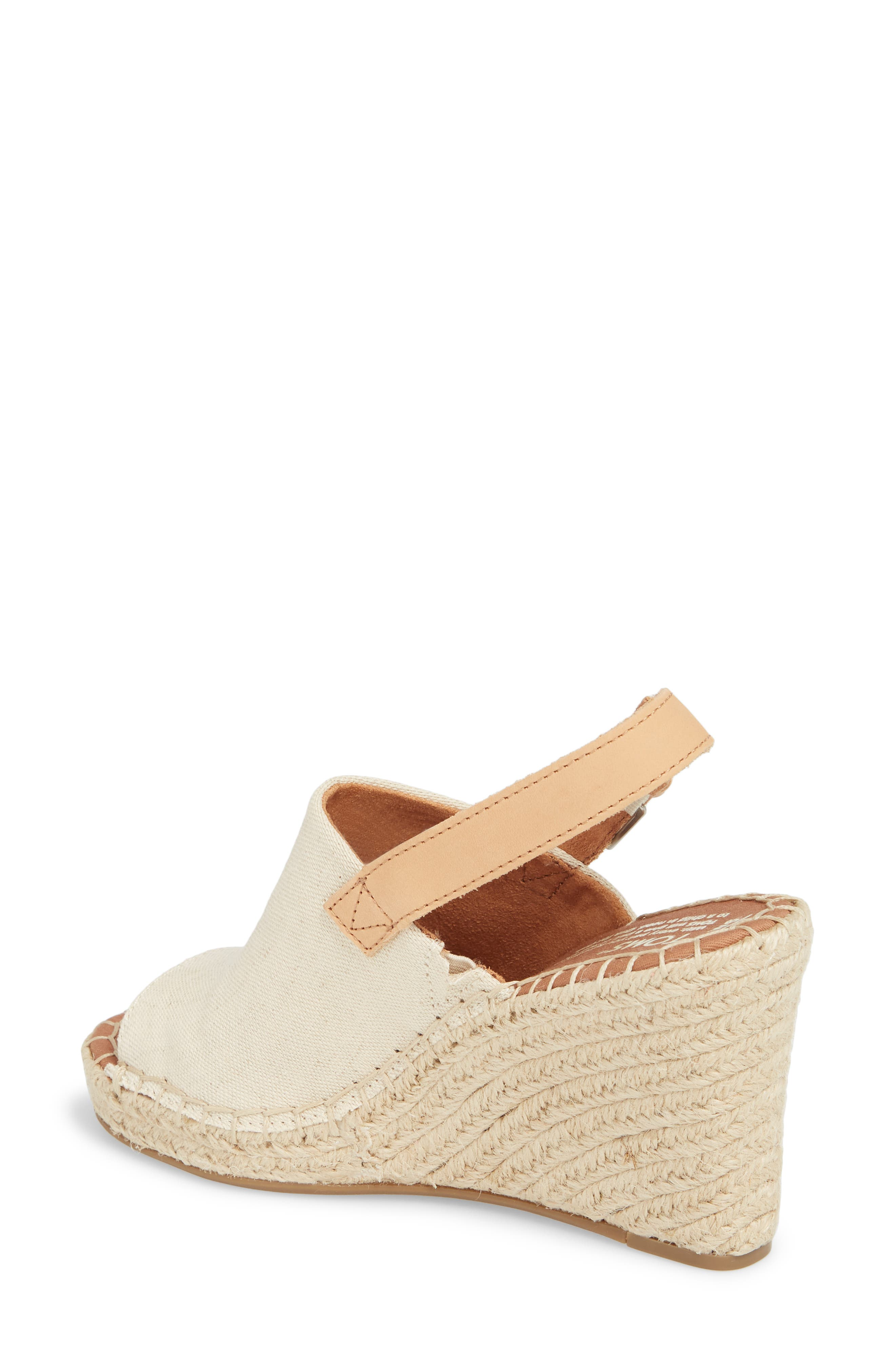 Monica Slingback Wedge,                             Alternate thumbnail 2, color,                             NATURAL HEMP/ LEATHER