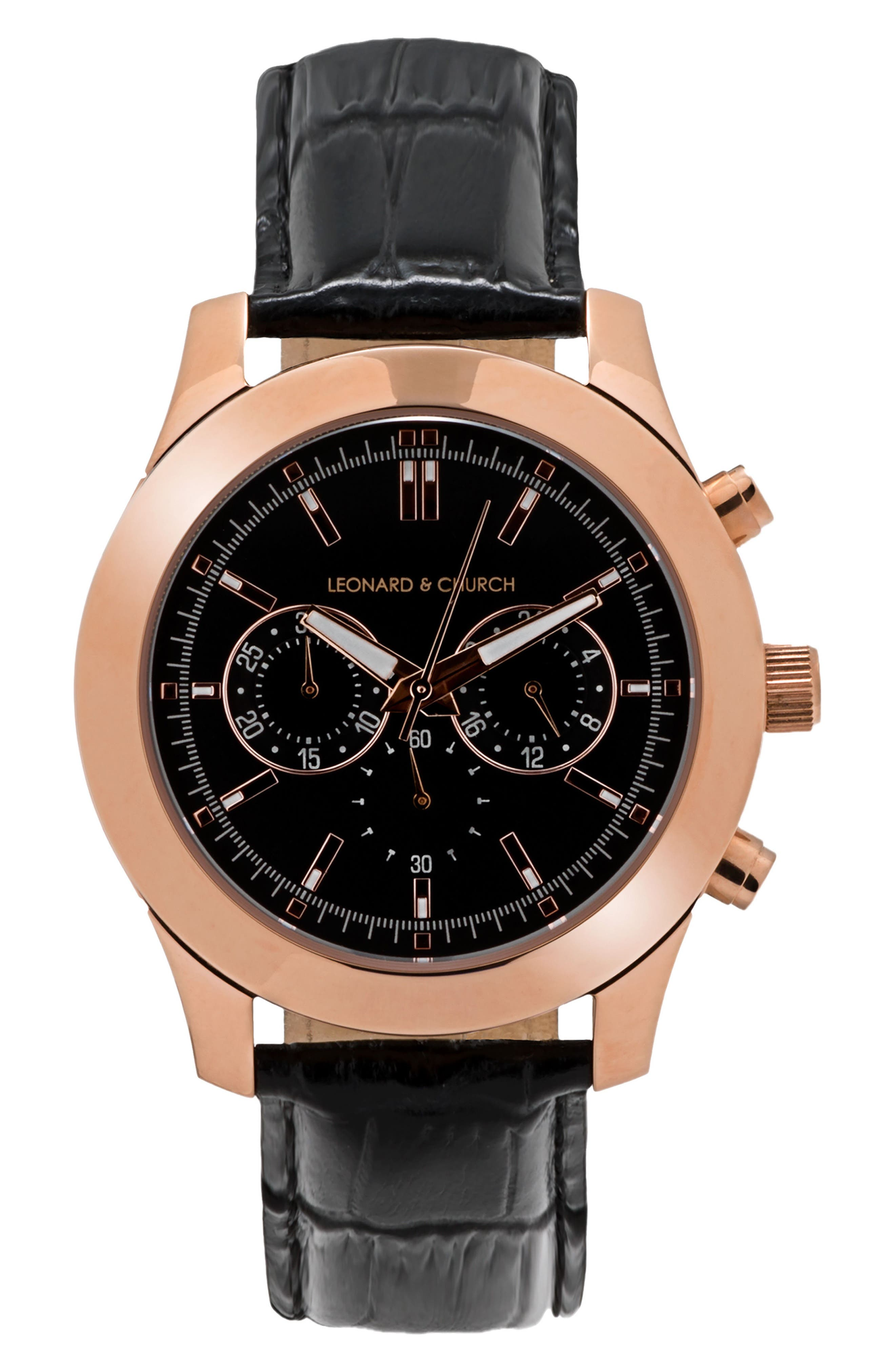Leonard & Church Astor Chronograph Leather Strap Watch, 45mm,                         Main,                         color, BLACK/ ROSE GOLD