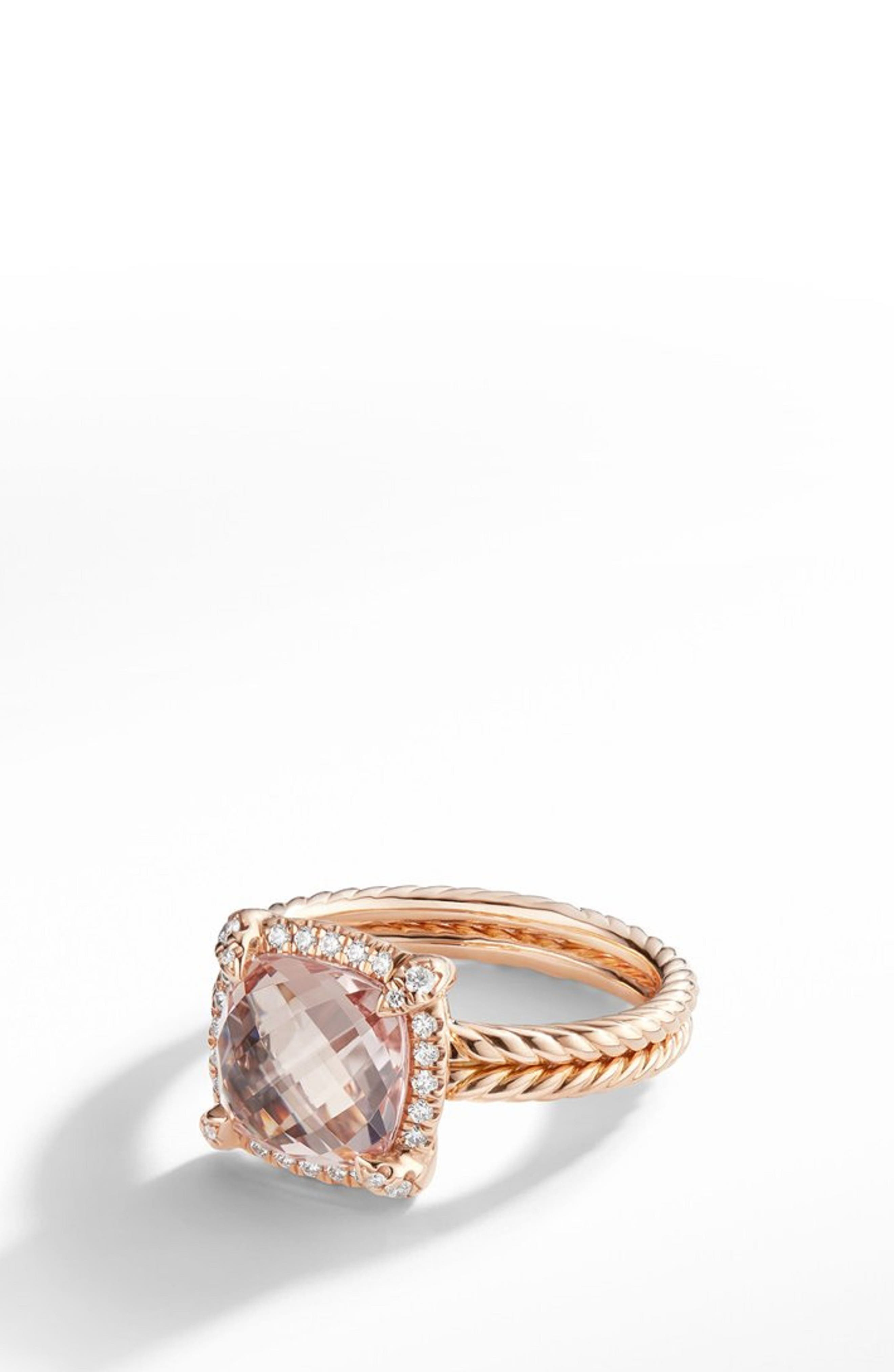Chatelaine<sup>®</sup> Pavé Bezel Ring in 18K Rose Gold,                             Main thumbnail 1, color,                             ROSE GOLD/ DIAMOND/ MORGANITE