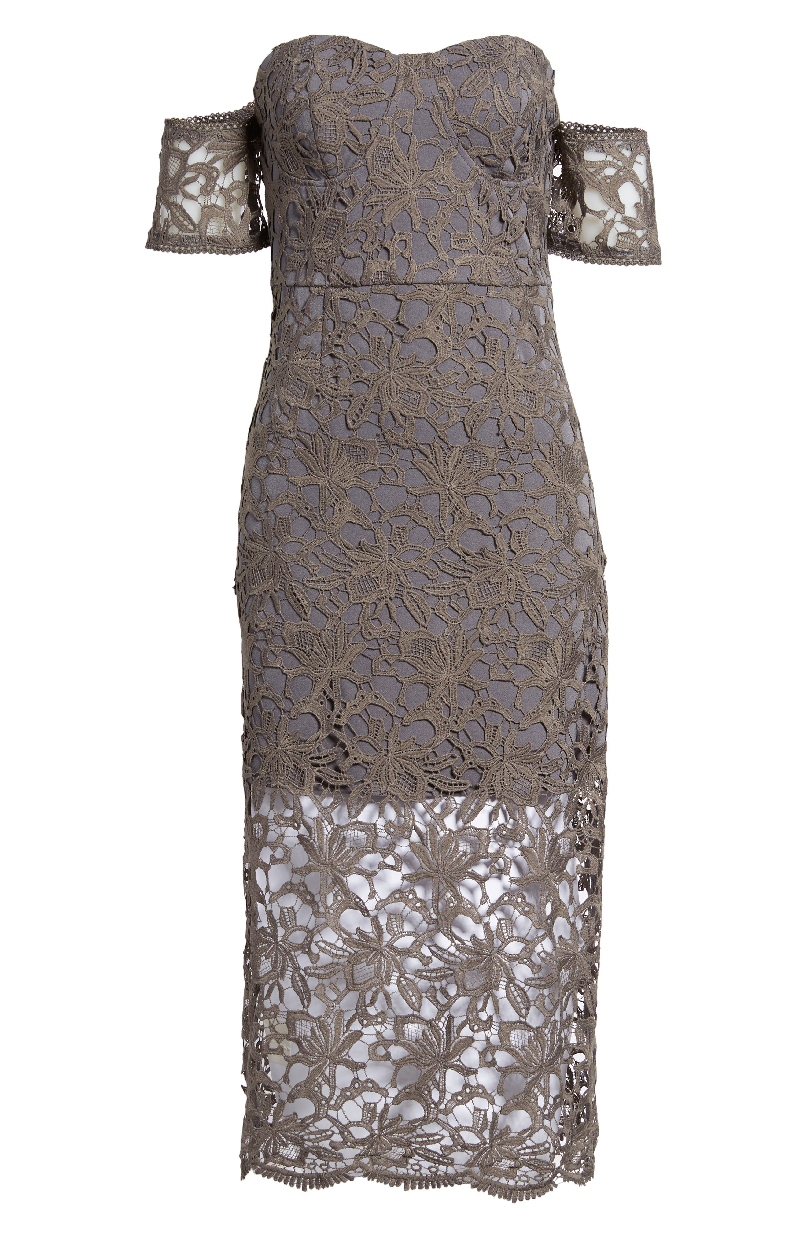 Off the Shoulder Lace Midi Dress,                             Alternate thumbnail 6, color,