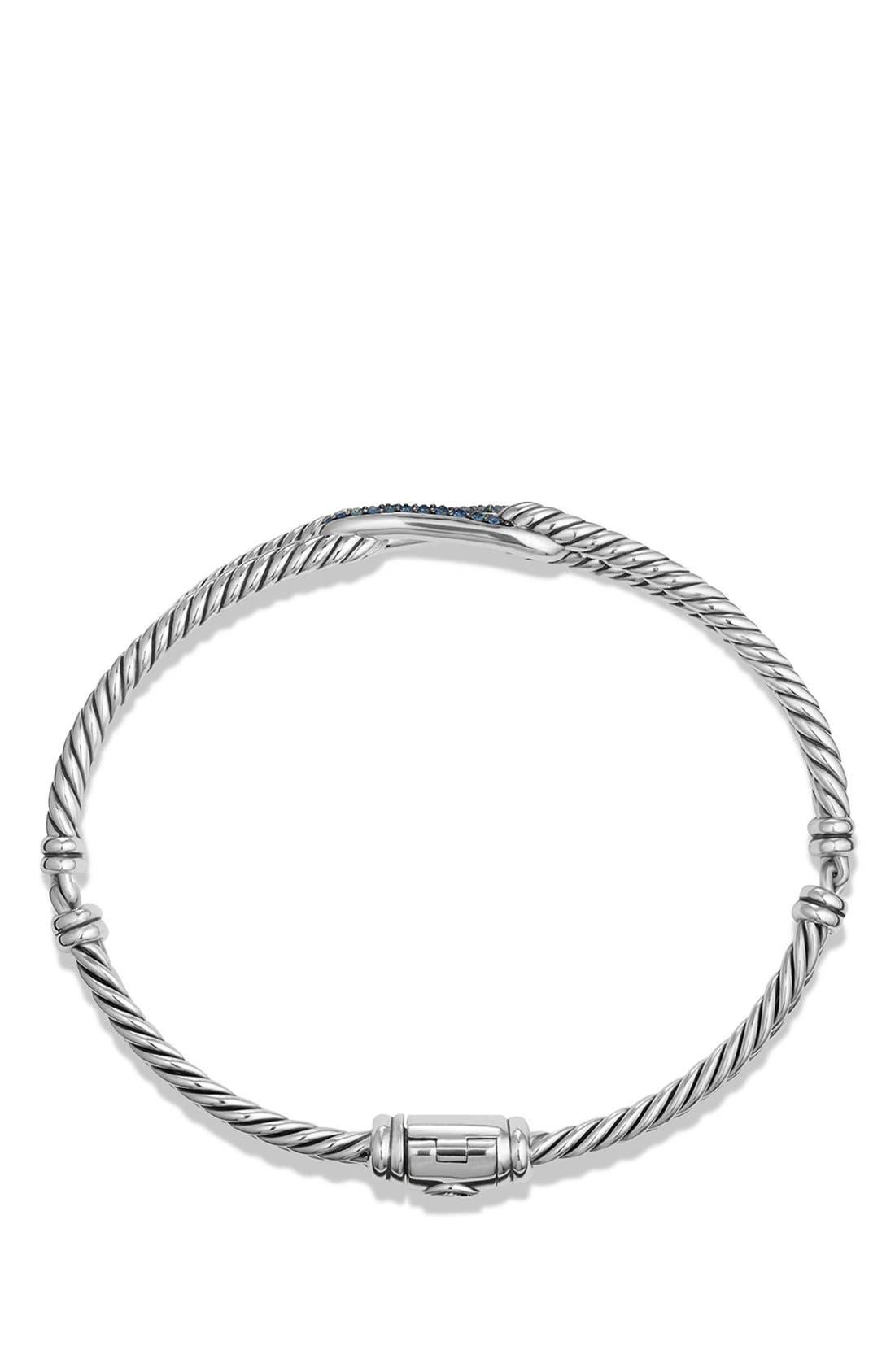 DAVID YURMAN,                             'Labyrinth' Petite Pavé Single-Loop Bracelet with Sapphires,                             Alternate thumbnail 2, color,                             BLUE SAPPHIRE