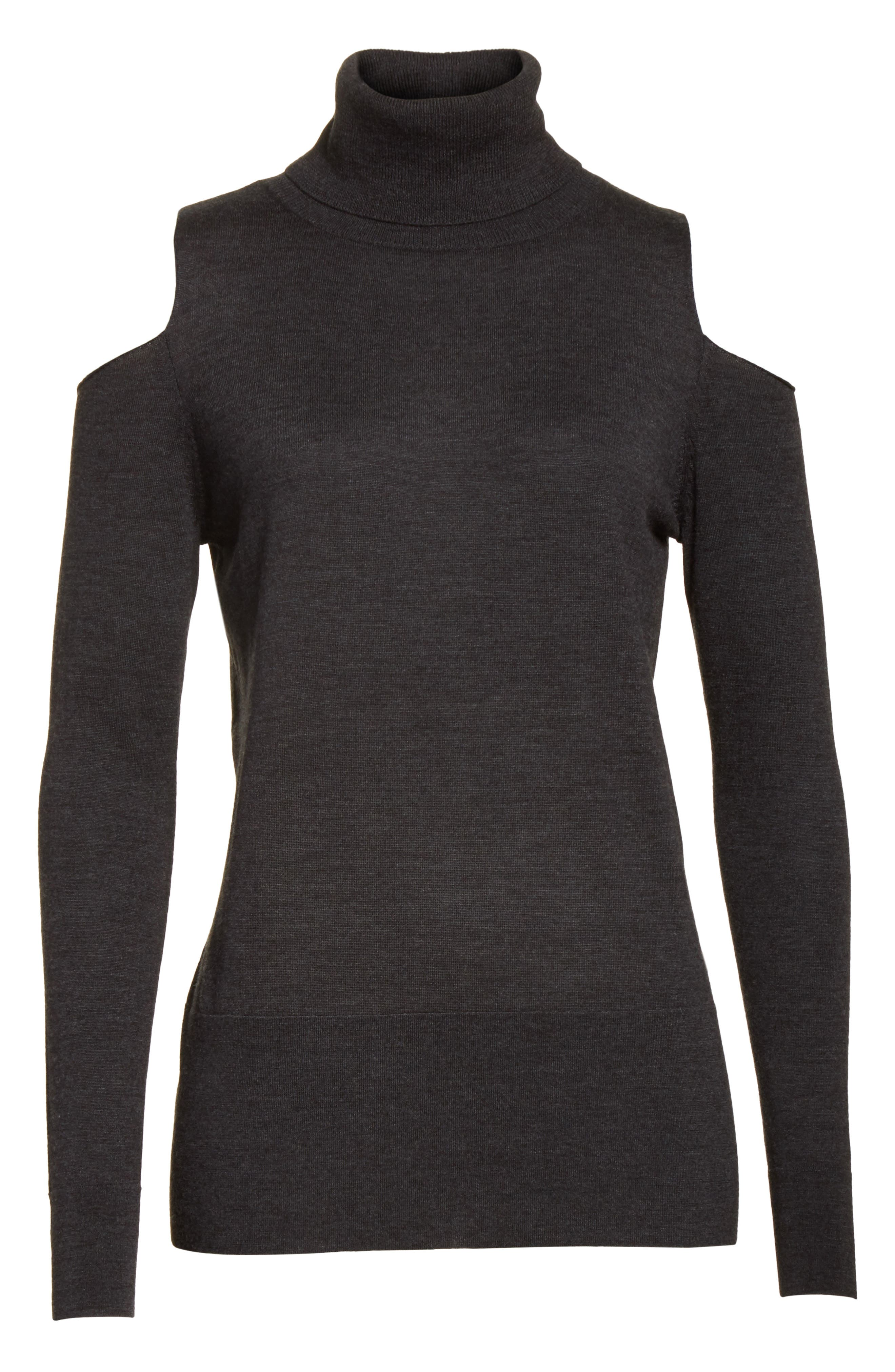 Merino Wool Cold Shoulder Turtleneck Sweater,                             Alternate thumbnail 6, color,