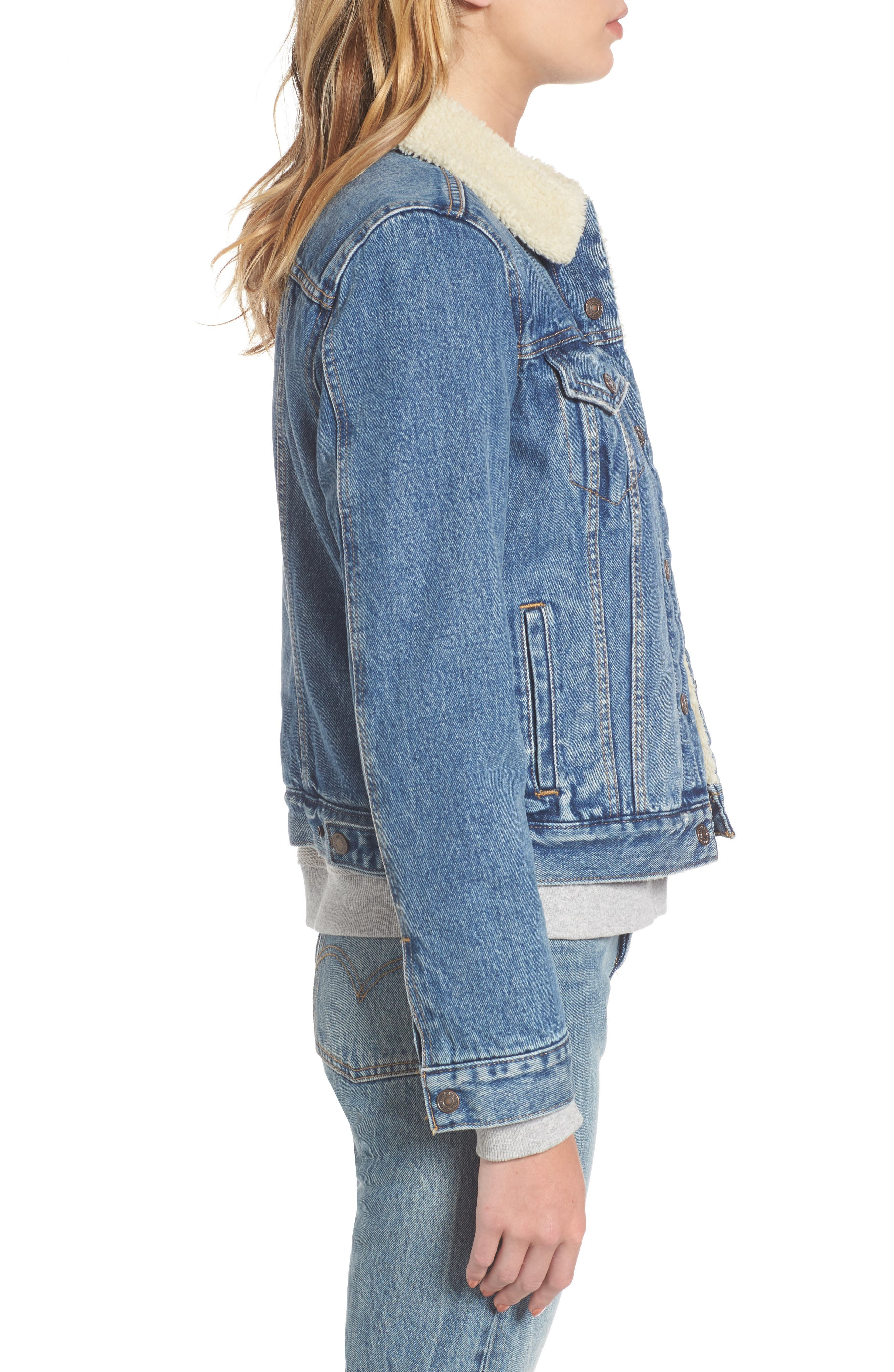 Faux Shearling Lined Denim Trucker Jacket,                             Alternate thumbnail 3, color,                             450