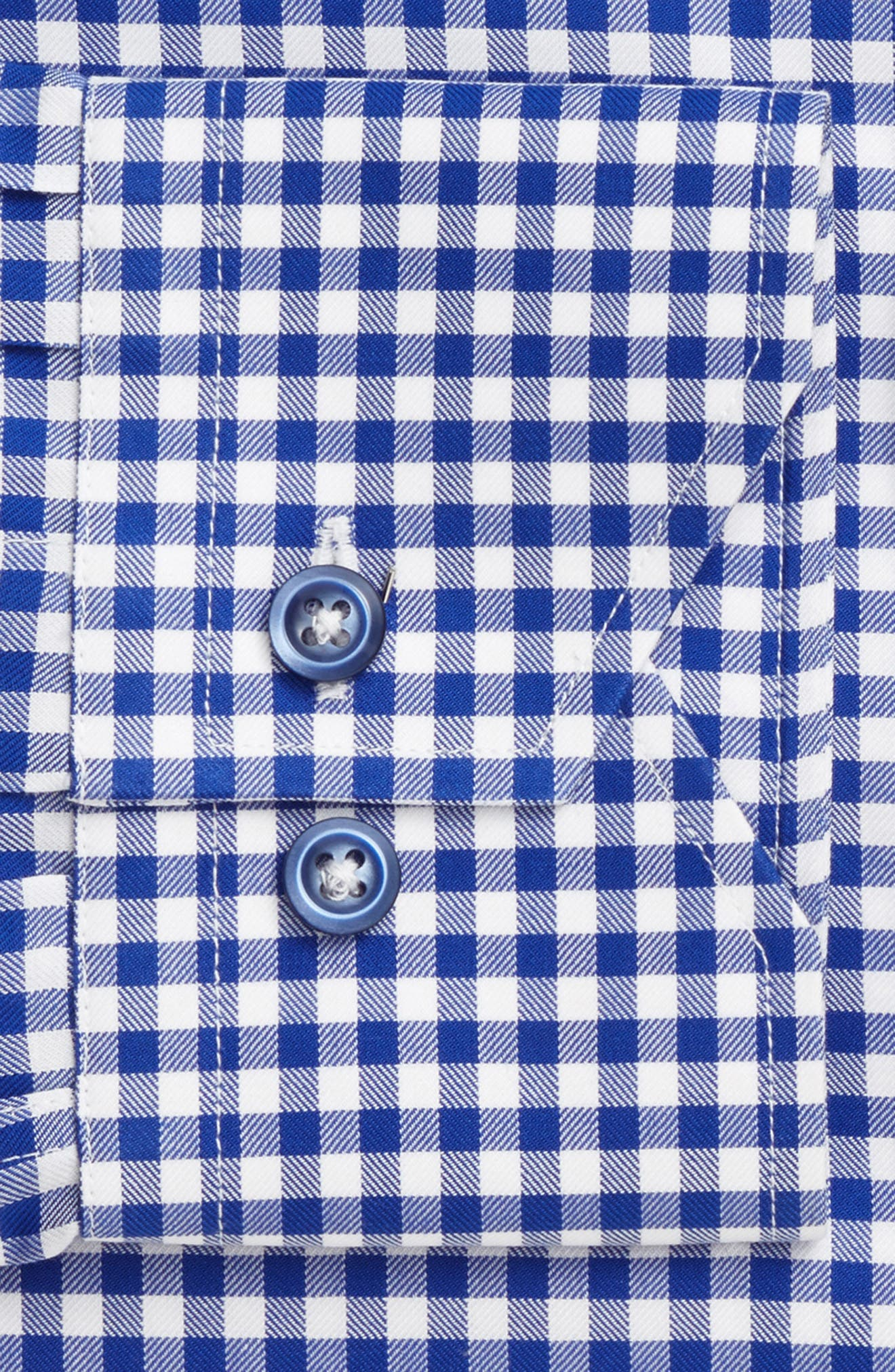 Trim Fit Textured Gingham Dress Shirt,                             Alternate thumbnail 4, color,                             NAVY