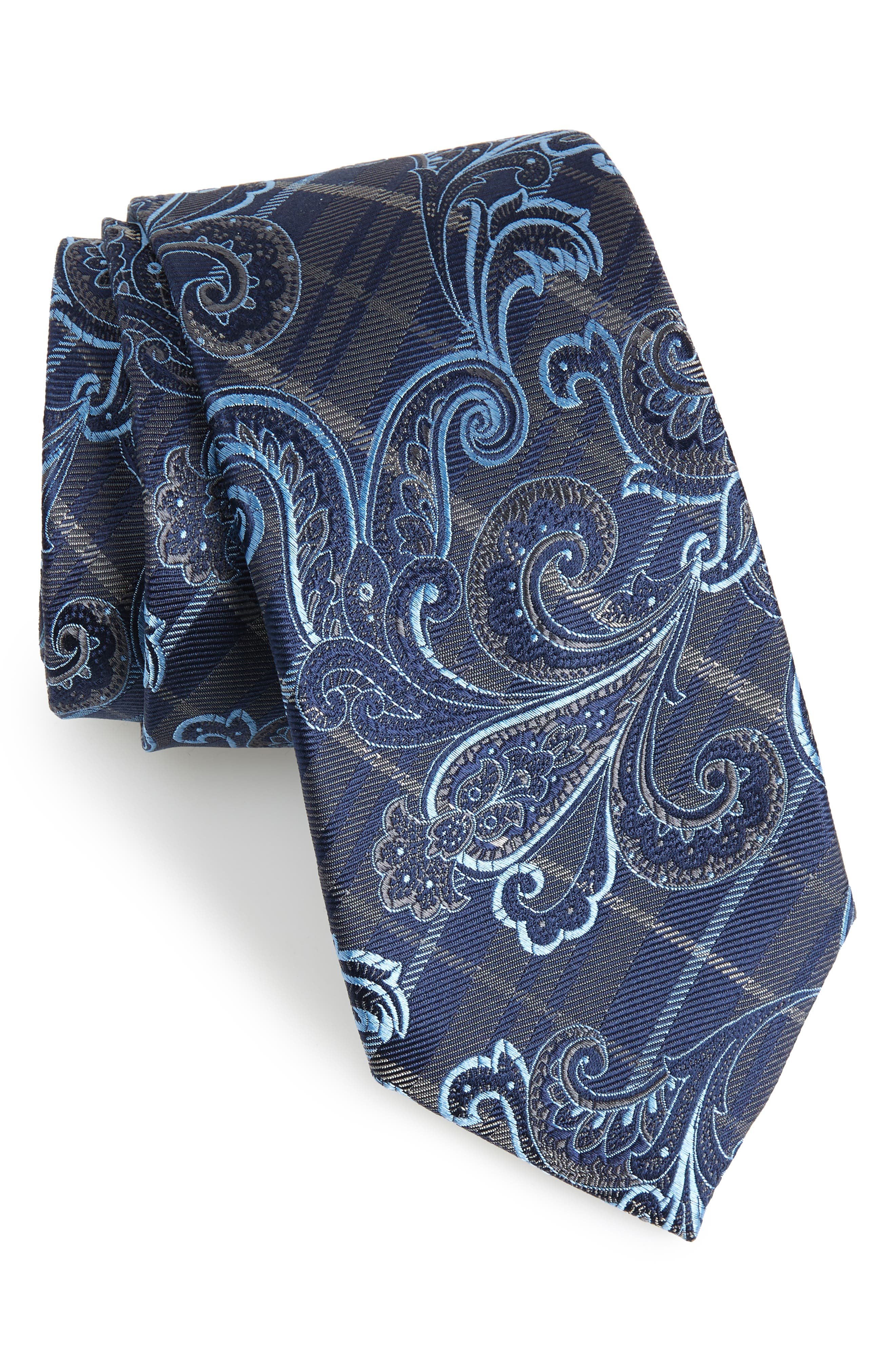 Riscal Paisley Silk Tie,                         Main,                         color, CHARCOAL