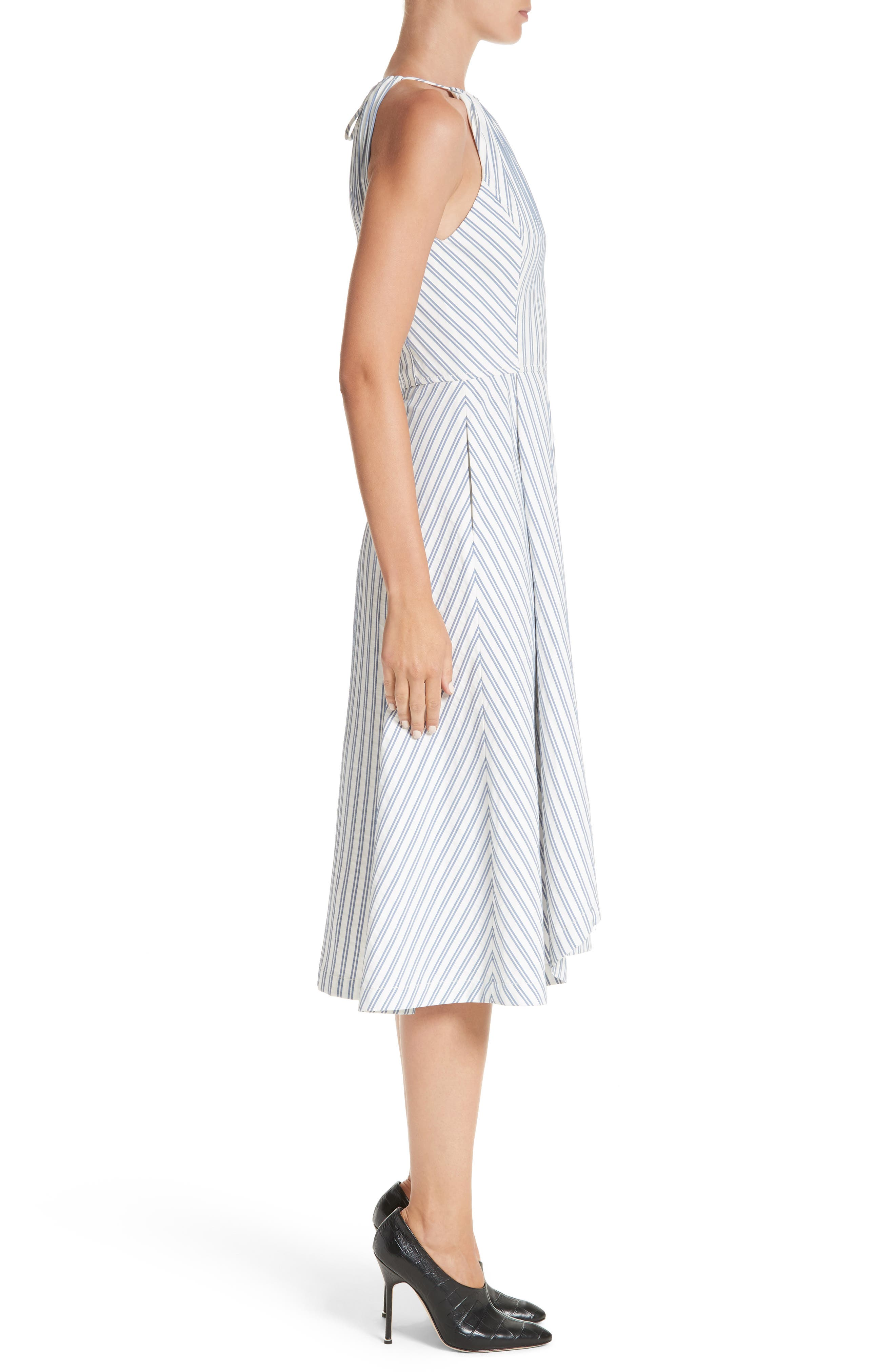 Stripe Shirting Apron Day Dress,                             Alternate thumbnail 3, color,                             453