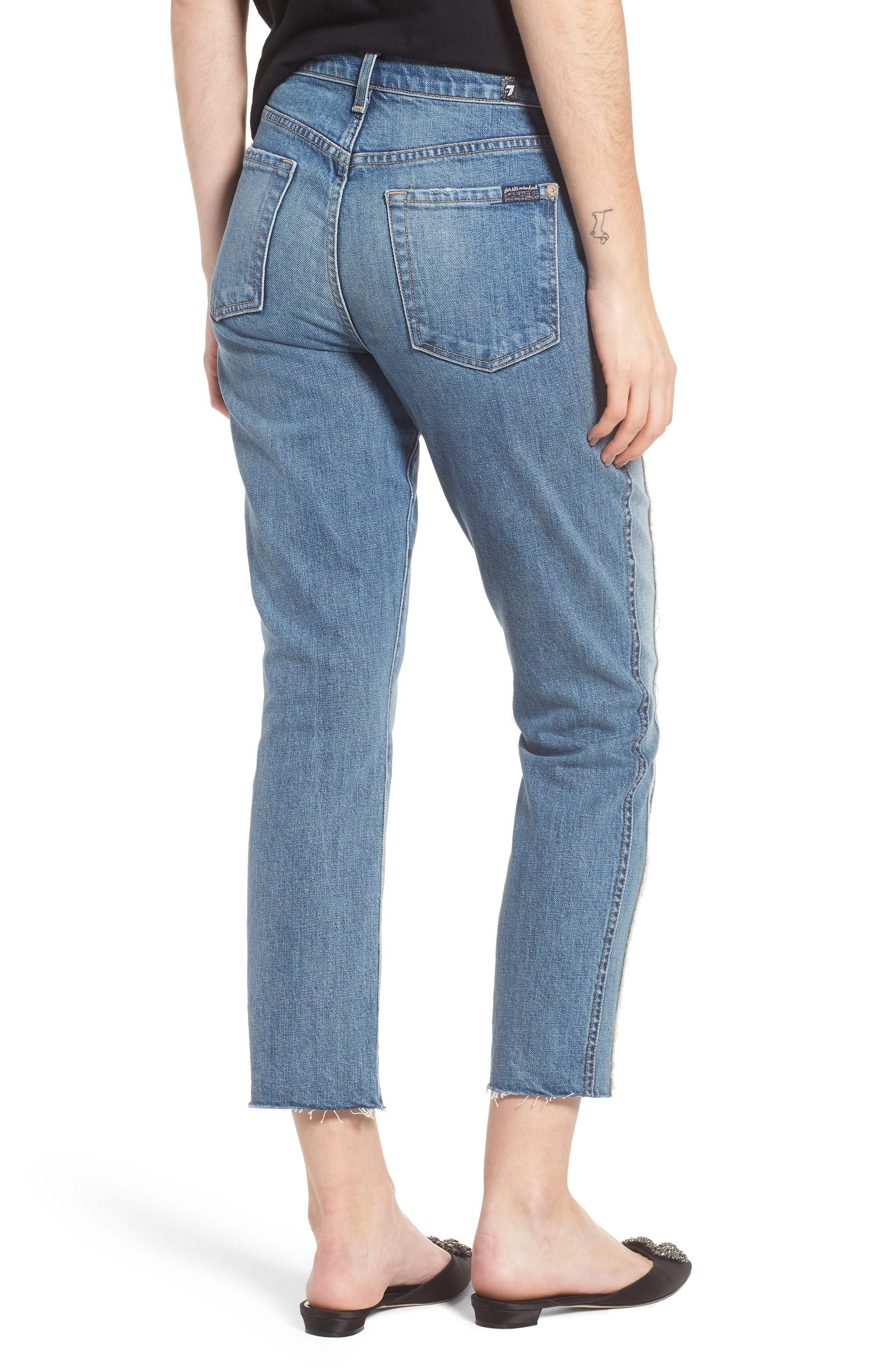 Edie Fray Seams Crop Straight Leg Jeans,                             Alternate thumbnail 2, color,                             400
