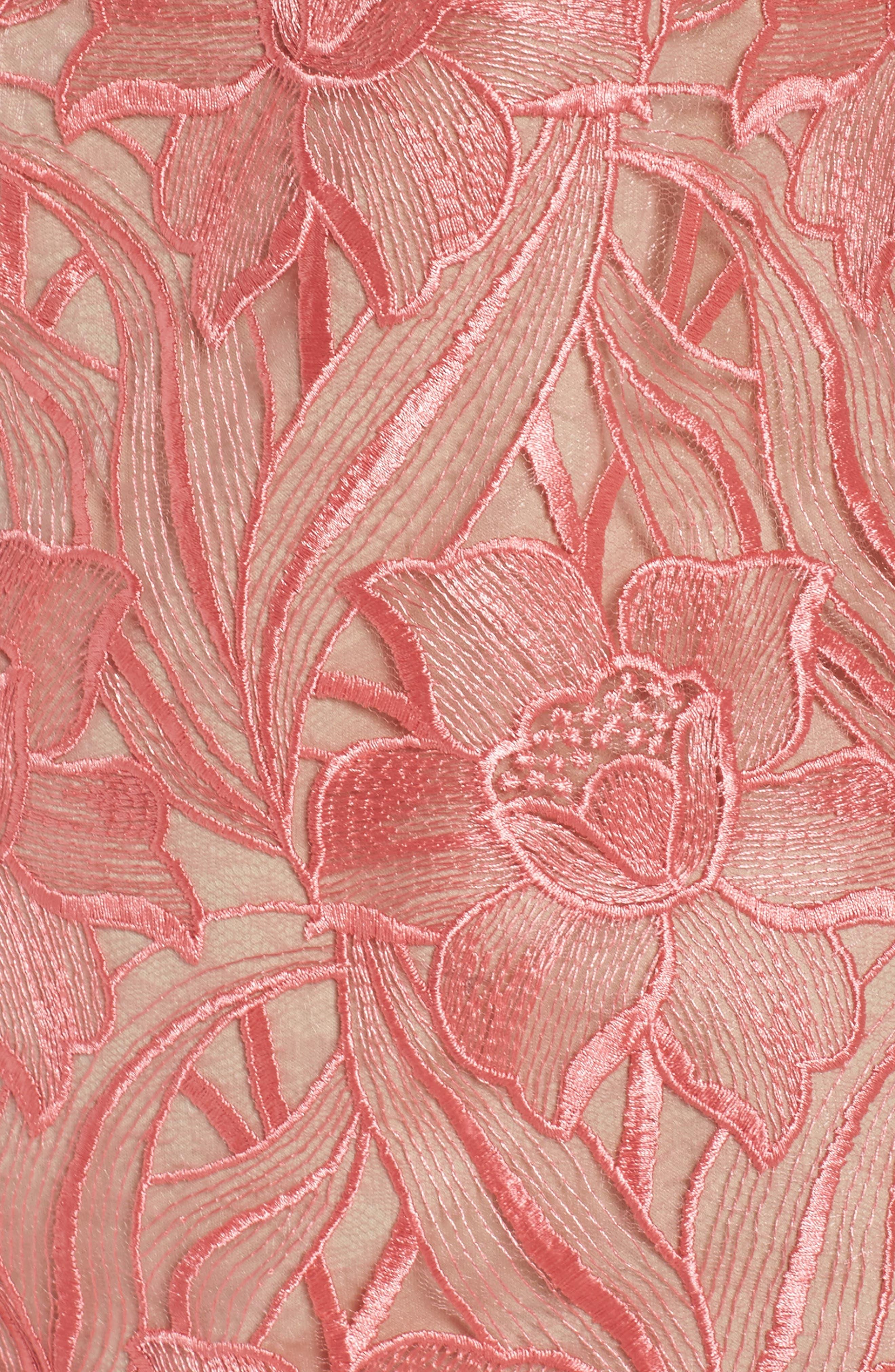 Floral Mesh Lace Shift Dress,                             Alternate thumbnail 6, color,                             950