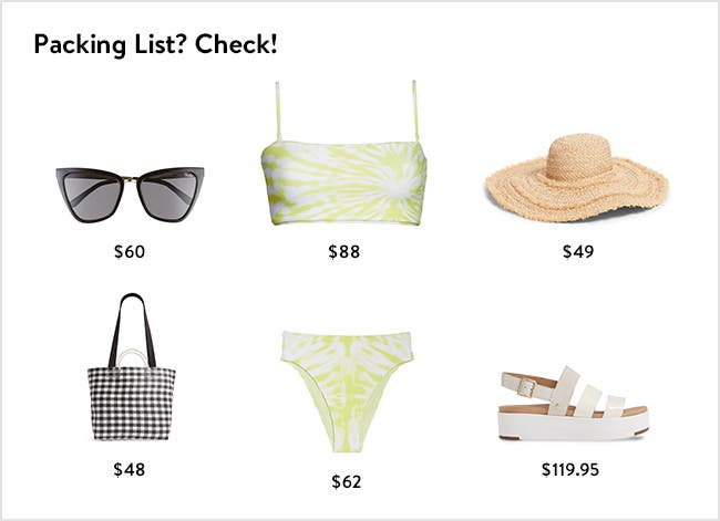 Packing list: women's vacation clothing, accessories, shoes and more.