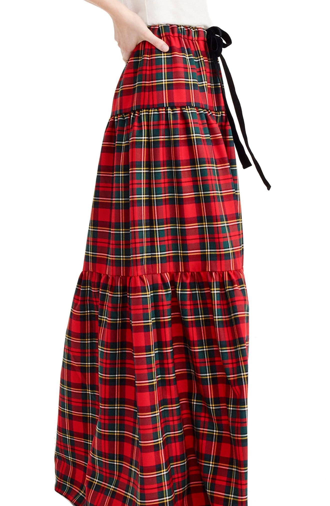 Tartan Plaid Tiered Maxi Skirt,                             Alternate thumbnail 2, color,                             600