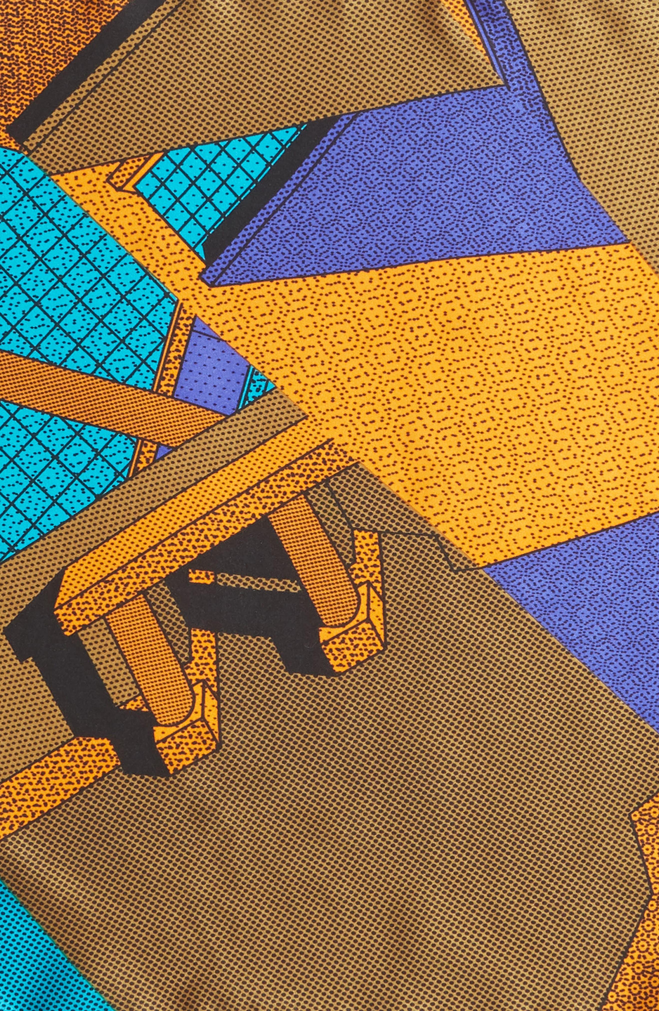 MEMPHIS Milano Pochette Silk Pocket Square,                             Alternate thumbnail 3, color,                             TEAL/ ORANGE