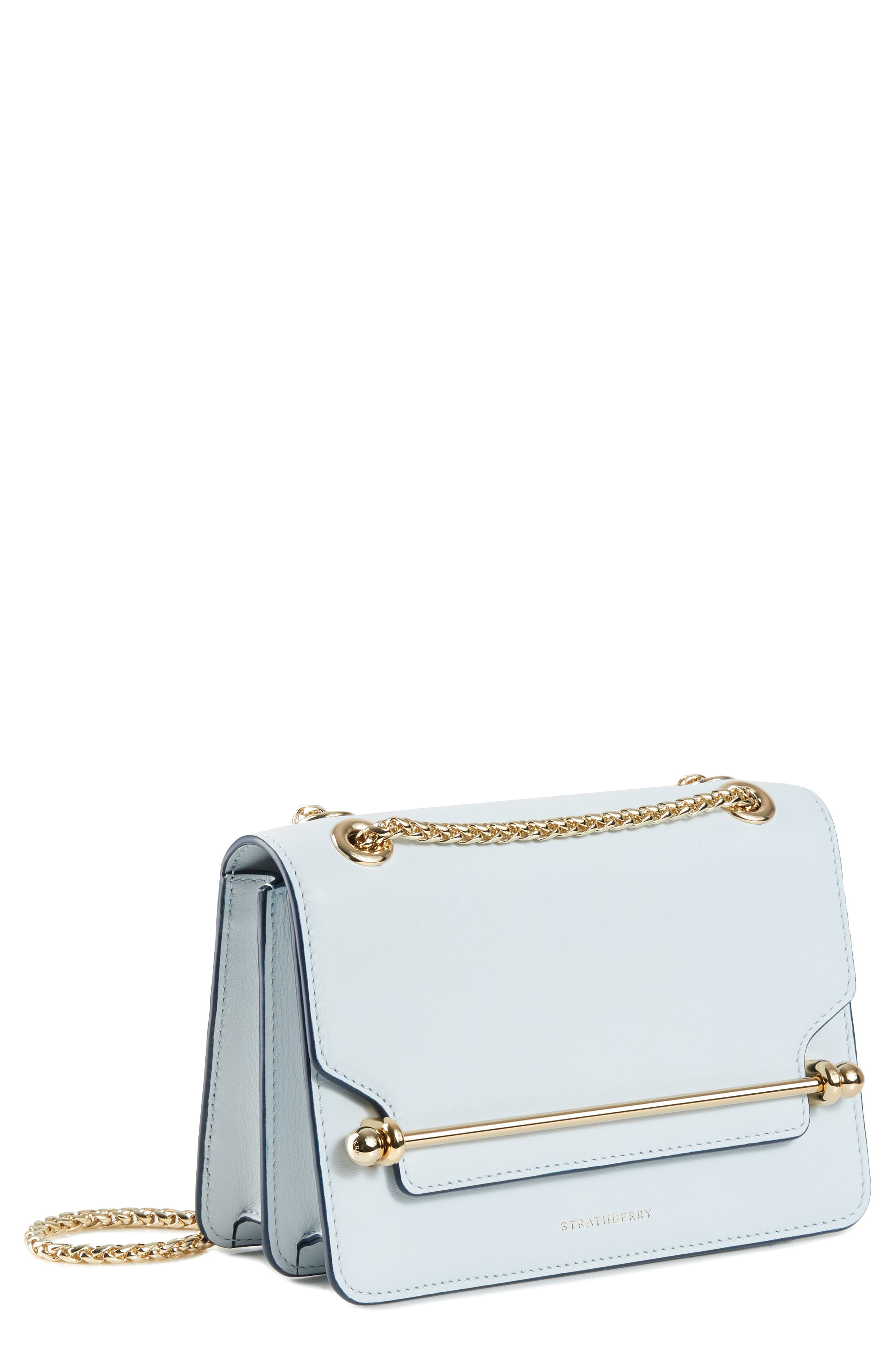 STRATHBERRY,                             Mini East/West Leather Crossbody Bag,                             Main thumbnail 1, color,                             ILLUSION BLUE