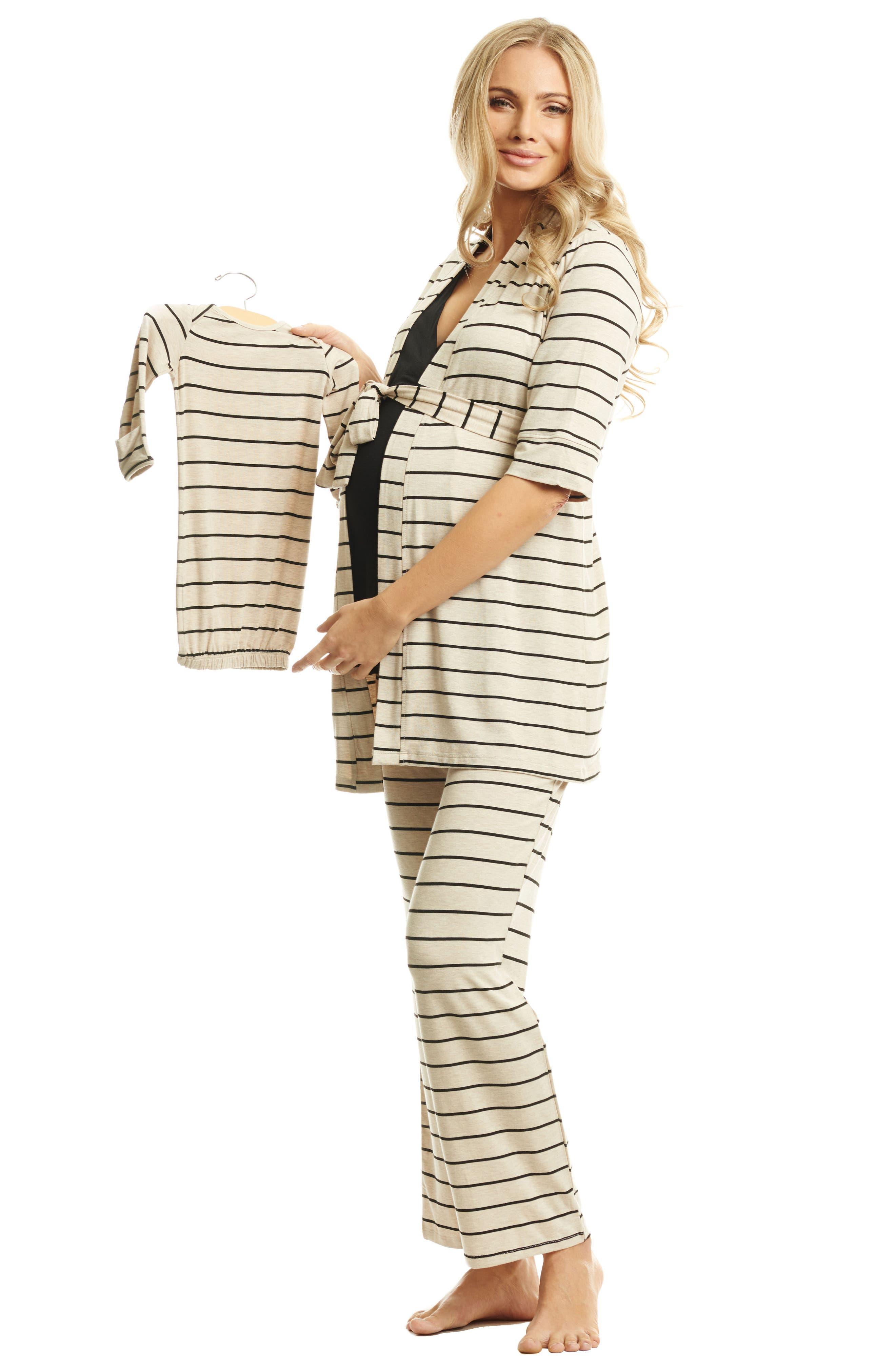 Roxanne - During & After 5-Piece Maternity Sleepwear Set,                             Alternate thumbnail 7, color,                             SAND STRIPE