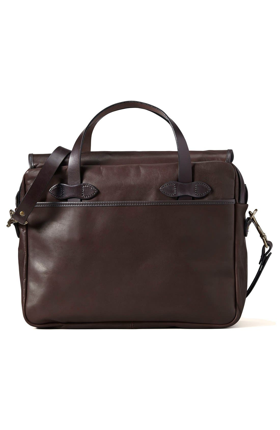 Weatherproof Leather Briefcase,                             Alternate thumbnail 2, color,