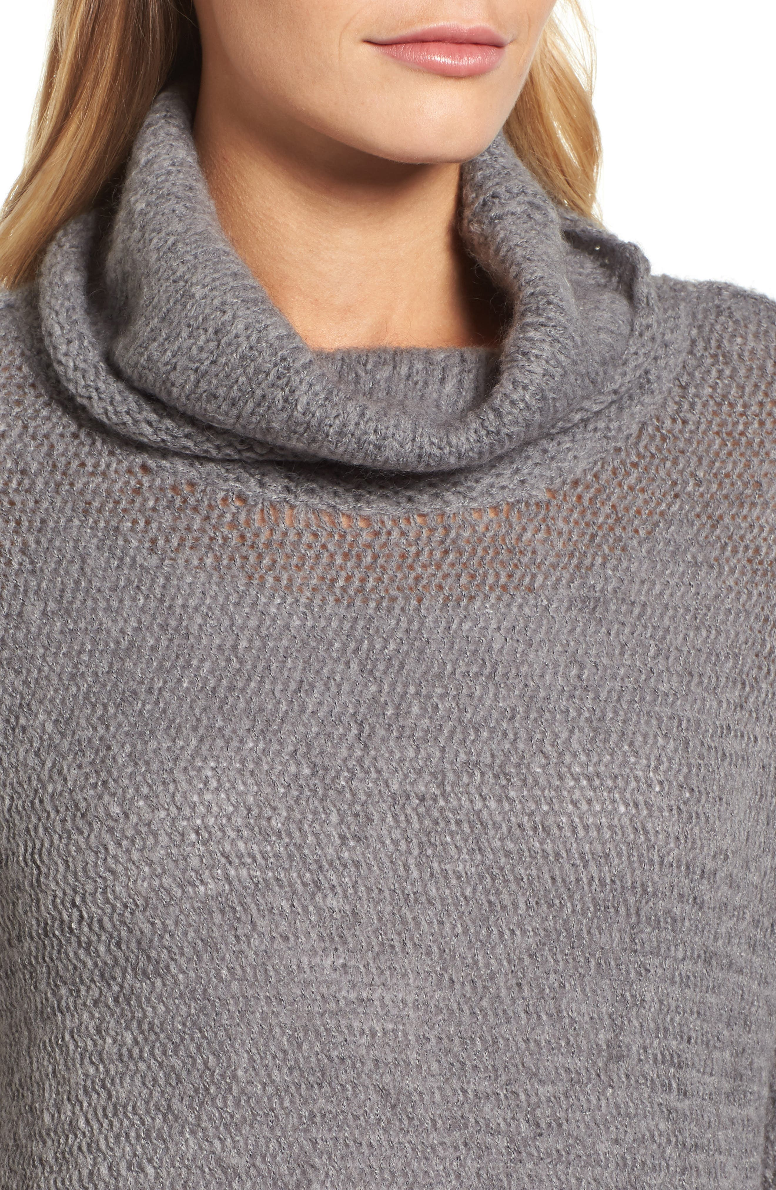 Tunic Sweater,                             Alternate thumbnail 4, color,                             GREY DARK HEATHER