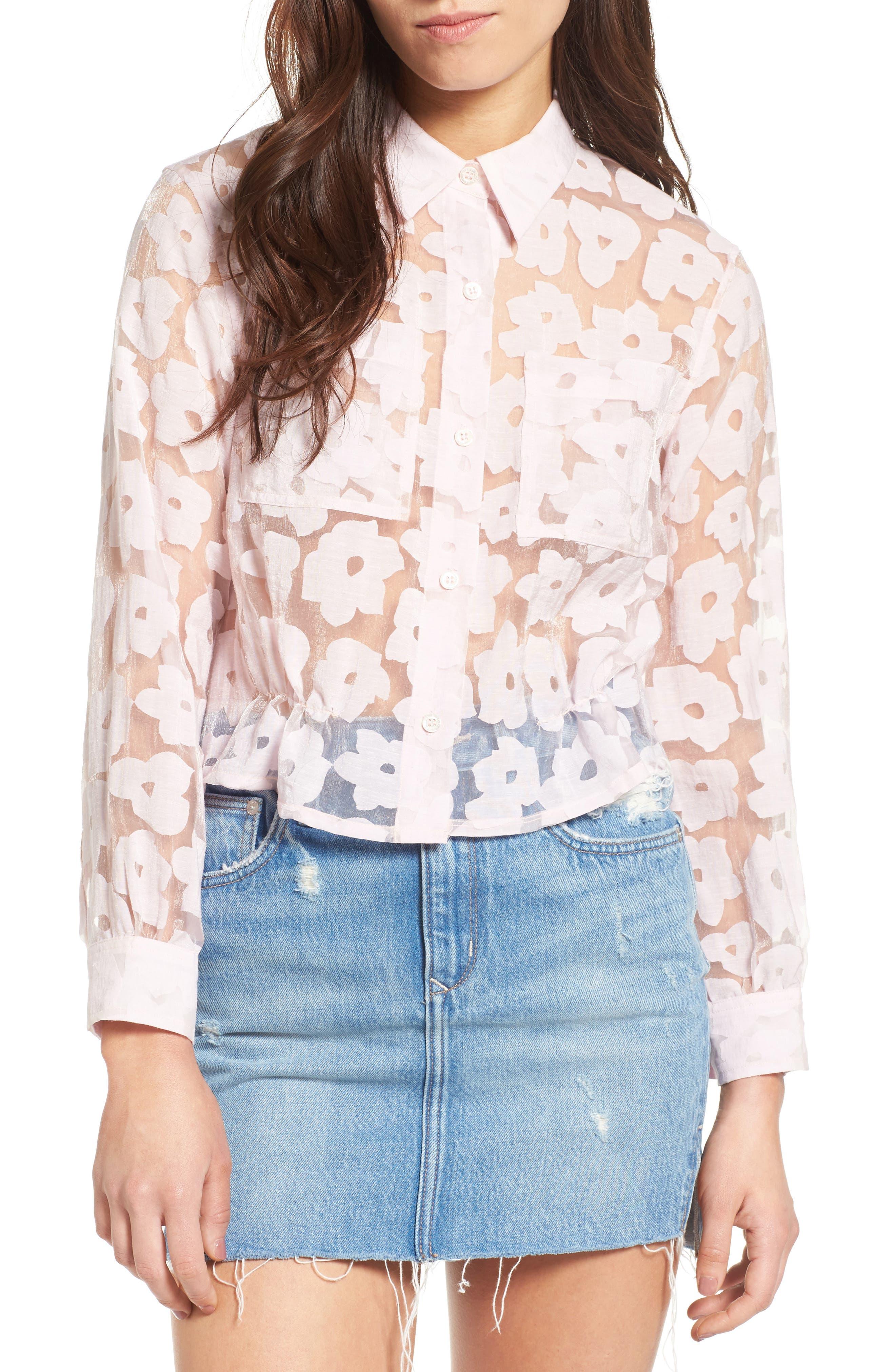Crop Burnout Shirt,                         Main,                         color, 650